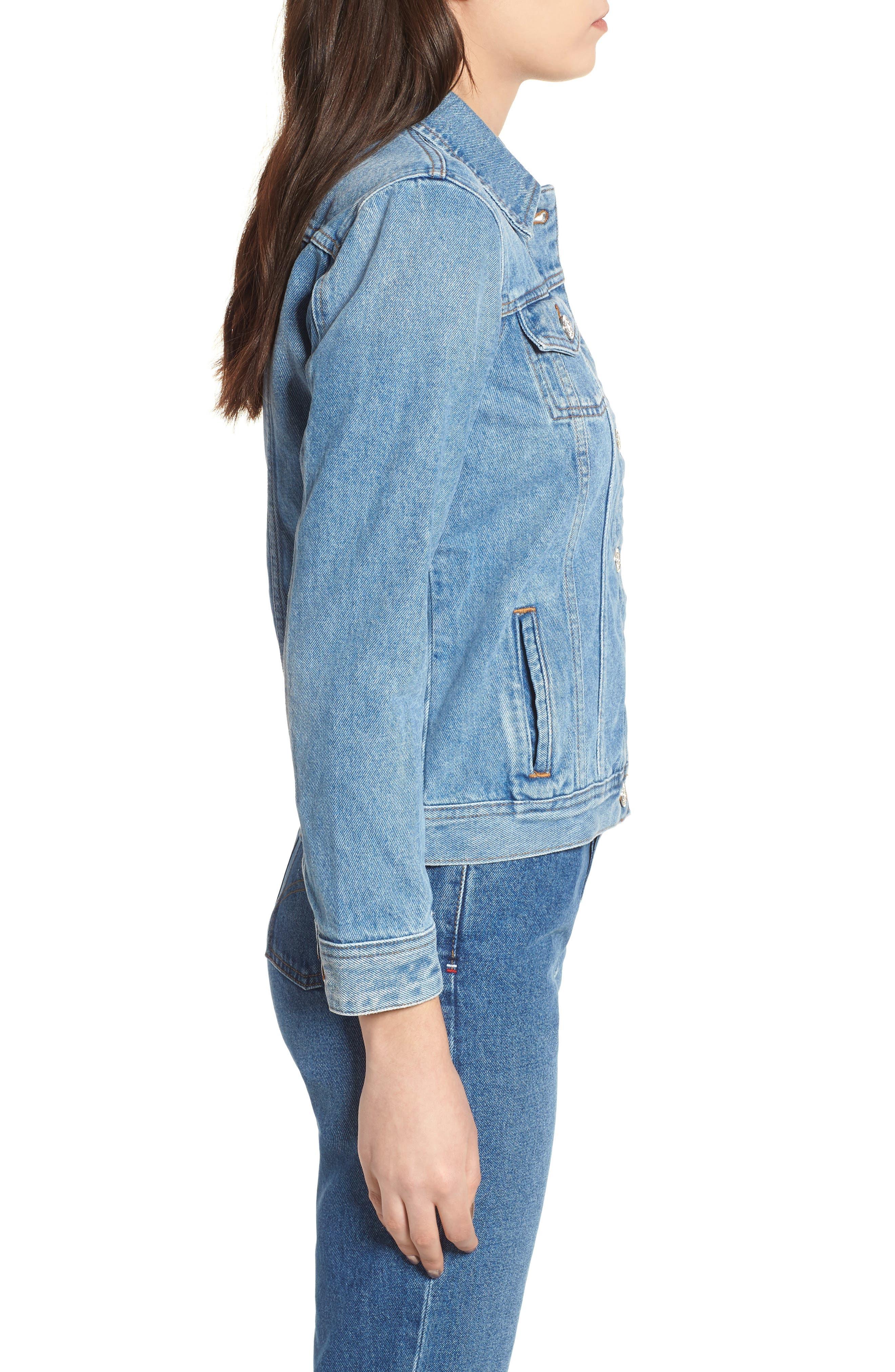 Denim Trucker Jacket,                             Alternate thumbnail 2, color,                             Tommy Jeans Light Blue Rigid