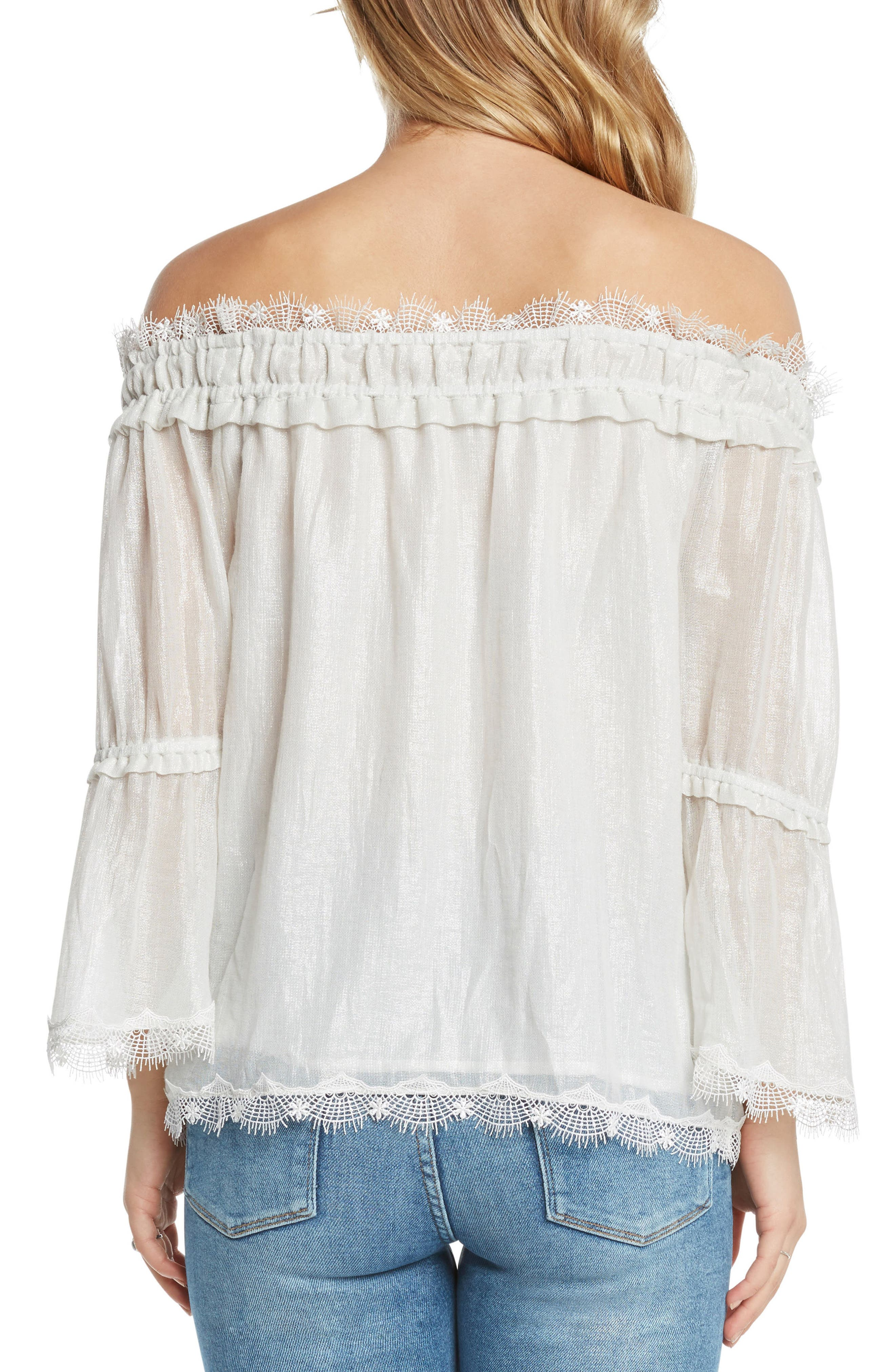 Lace Trim Foil Off the Shoulder Top,                             Alternate thumbnail 2, color,                             Ivory
