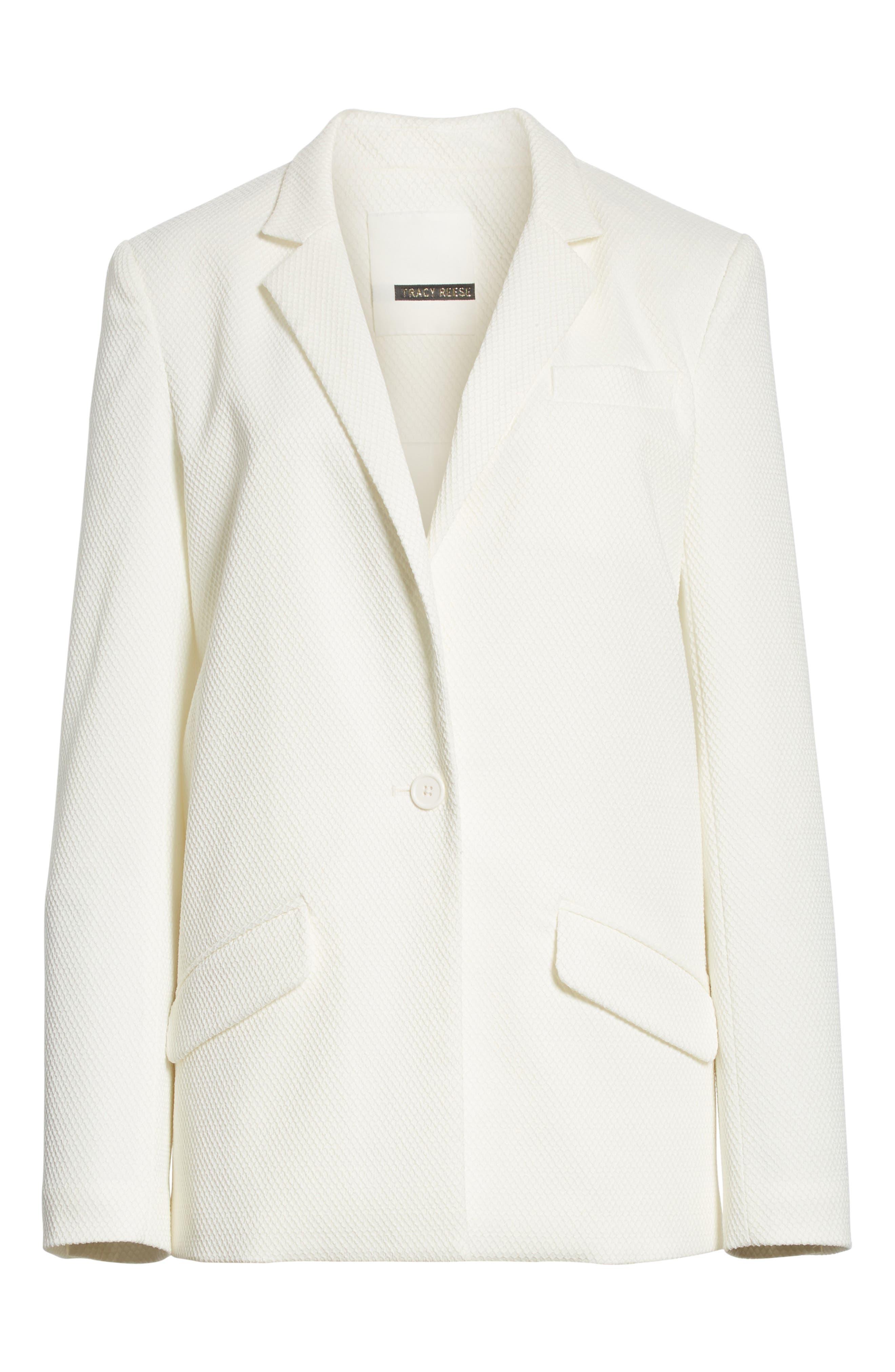 Textured Stretch Cotton Blend Blazer,                             Alternate thumbnail 6, color,                             Soft White