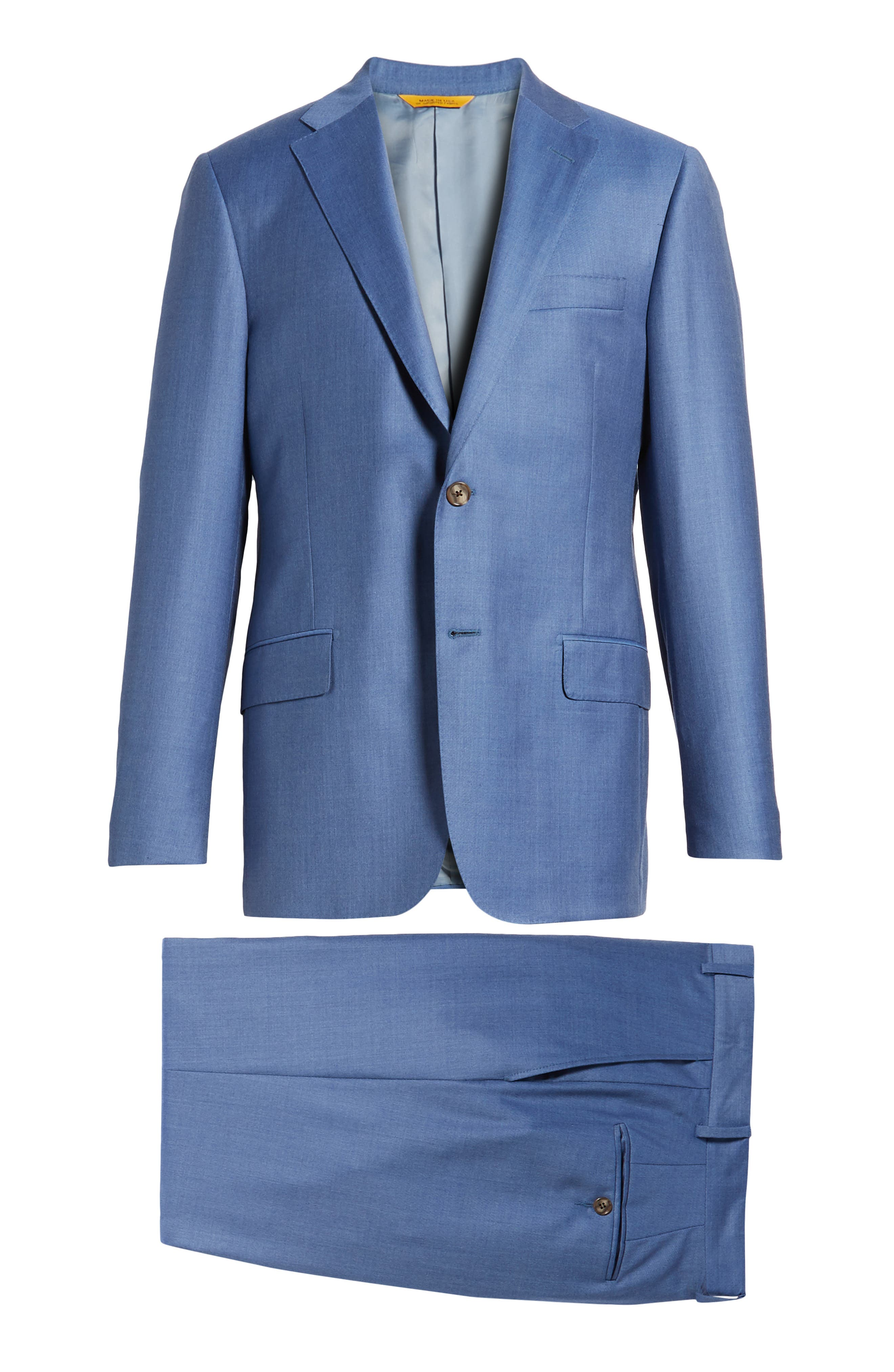Classic B Fit Solid Wool Suit,                             Alternate thumbnail 8, color,                             Light Blue Solid