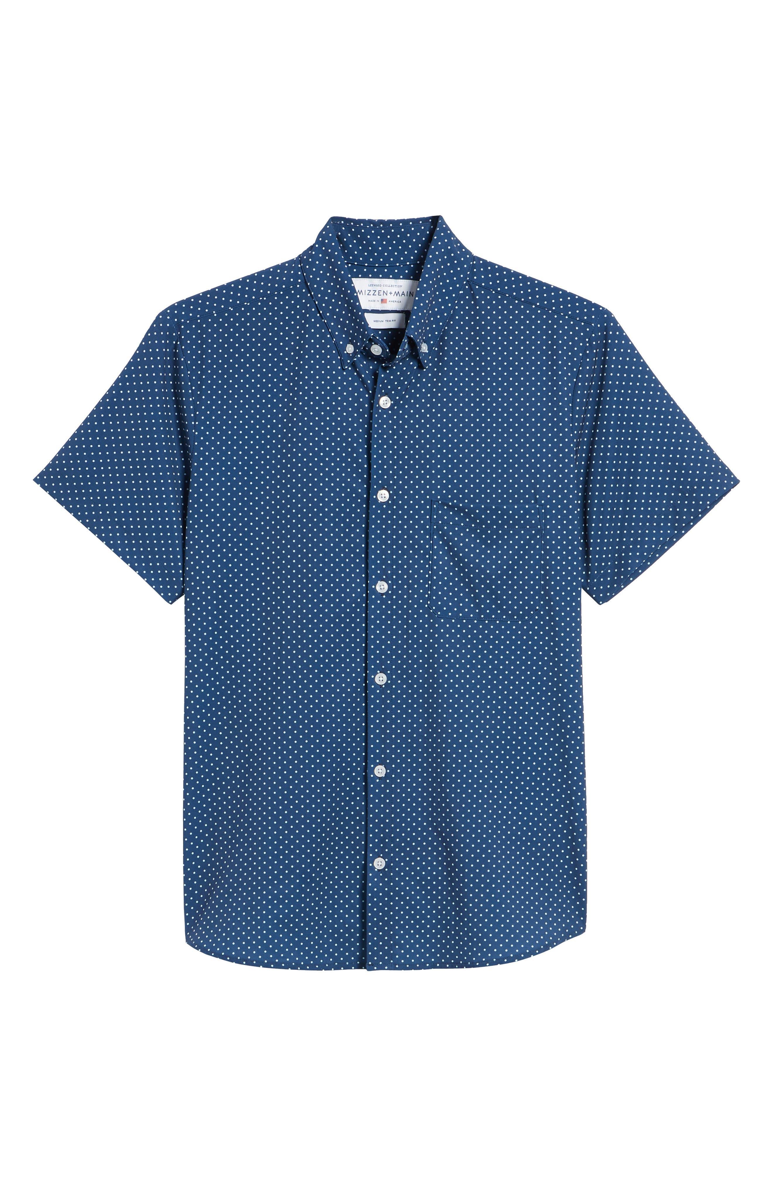 Crosby Slim Fit Dot Performance Sport Shirt,                             Alternate thumbnail 6, color,                             Navy