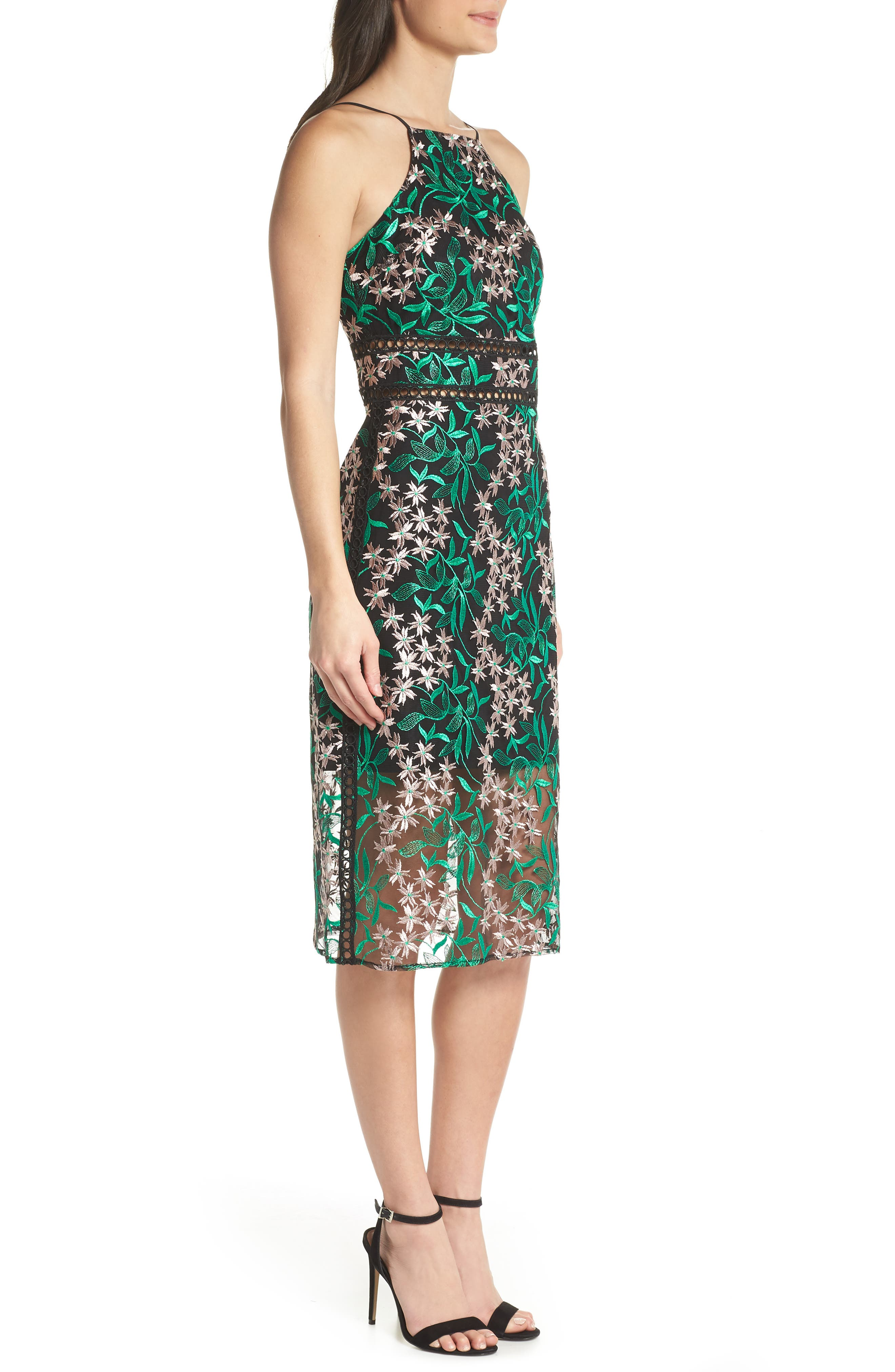 Embroidered Lace Pencil Dress,                             Alternate thumbnail 3, color,                             Pink/ Green