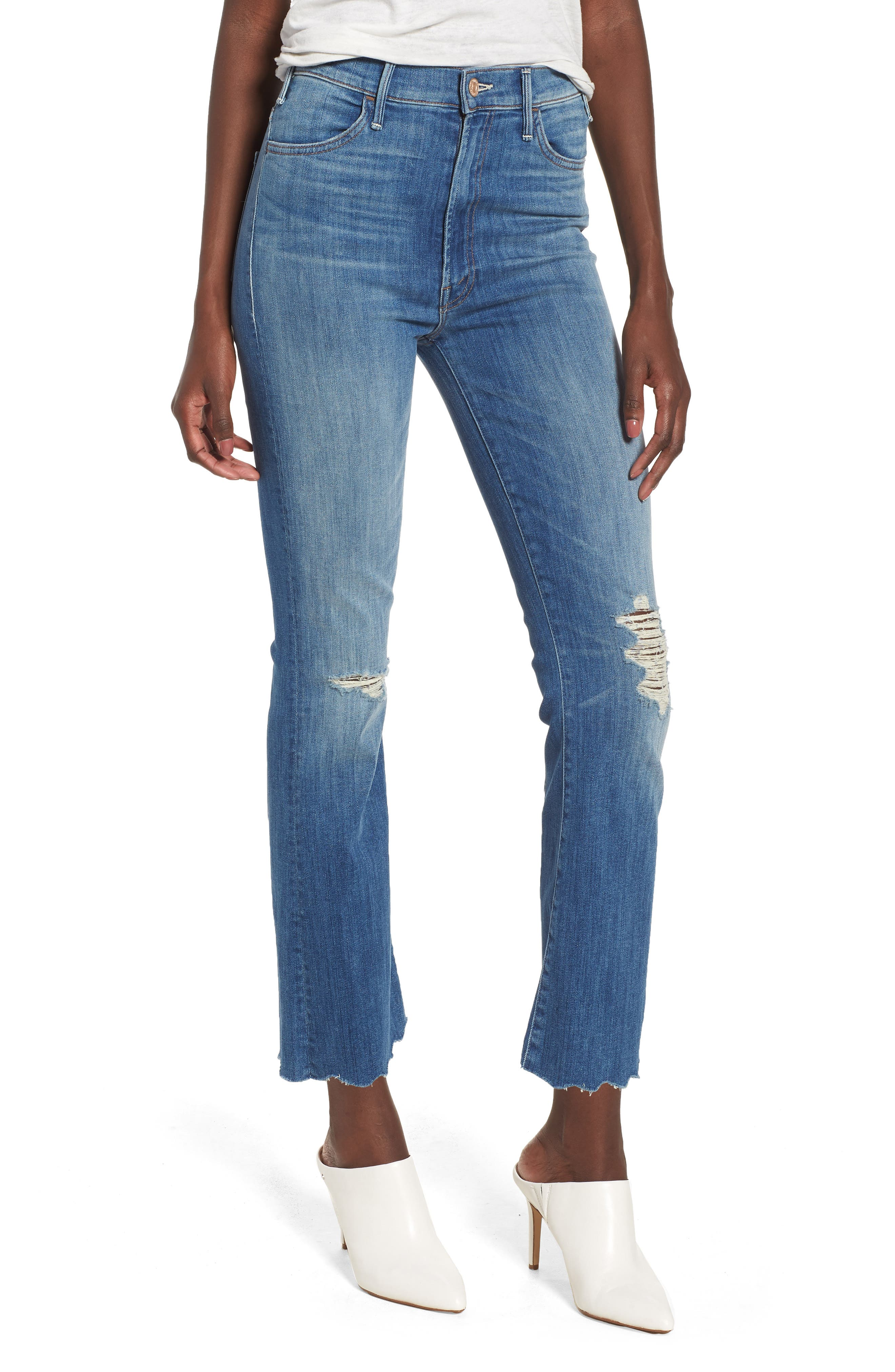 The Hustler High Waist Chew Hem Ankle Jeans,                         Main,                         color, Mums The Word