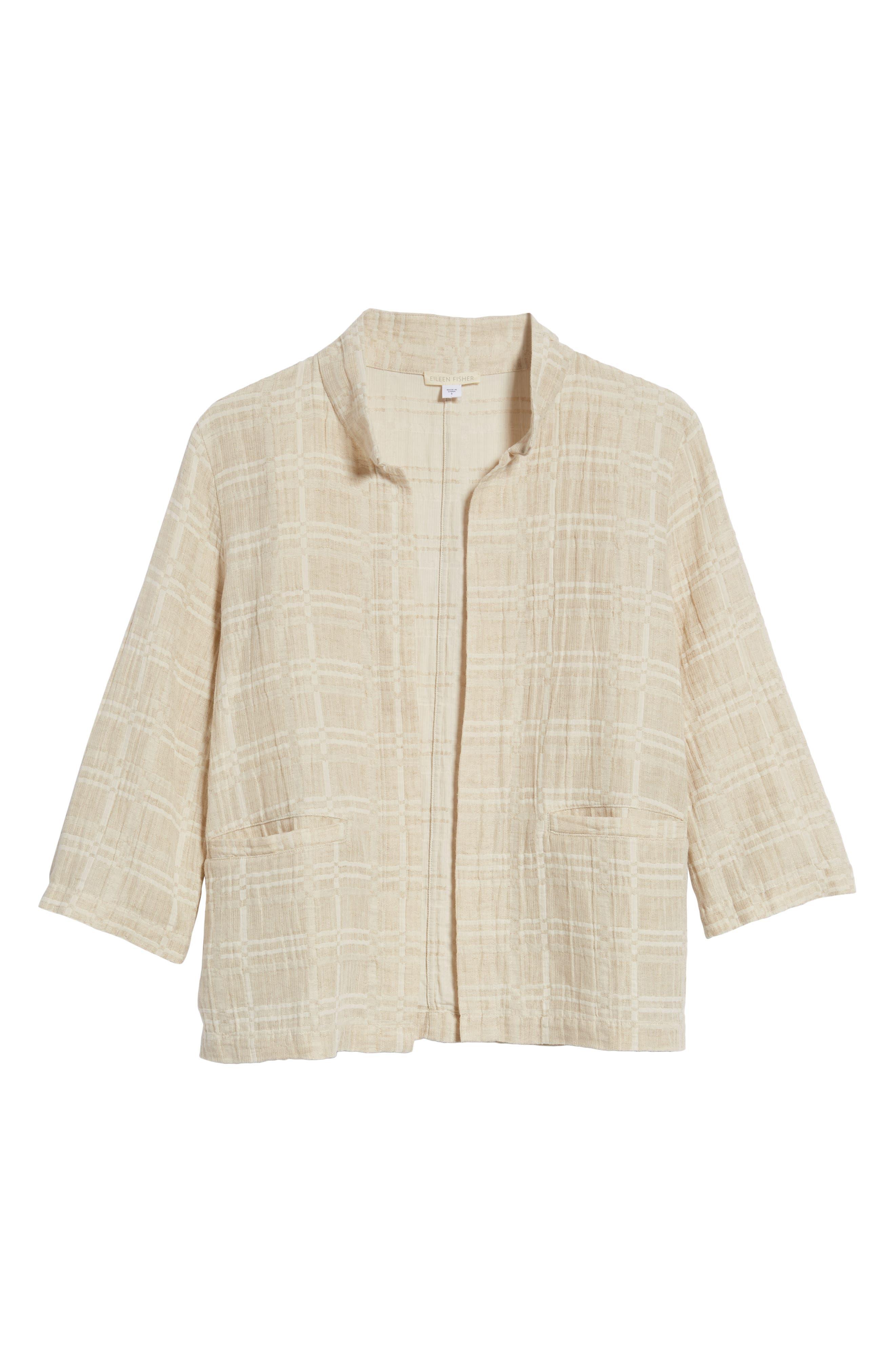 Check Organic Cotton & Linen Jacket,                             Alternate thumbnail 7, color,                             Natural