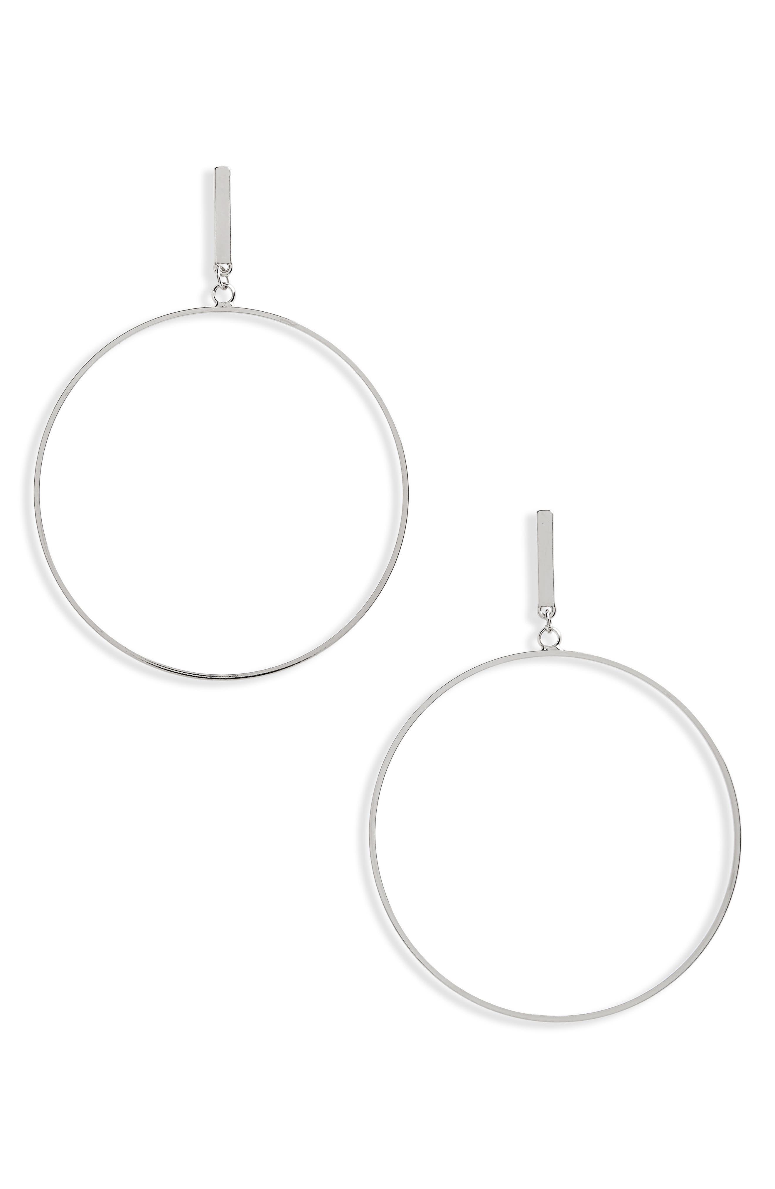 Large Post Hoop Earrings,                         Main,                         color, Silver