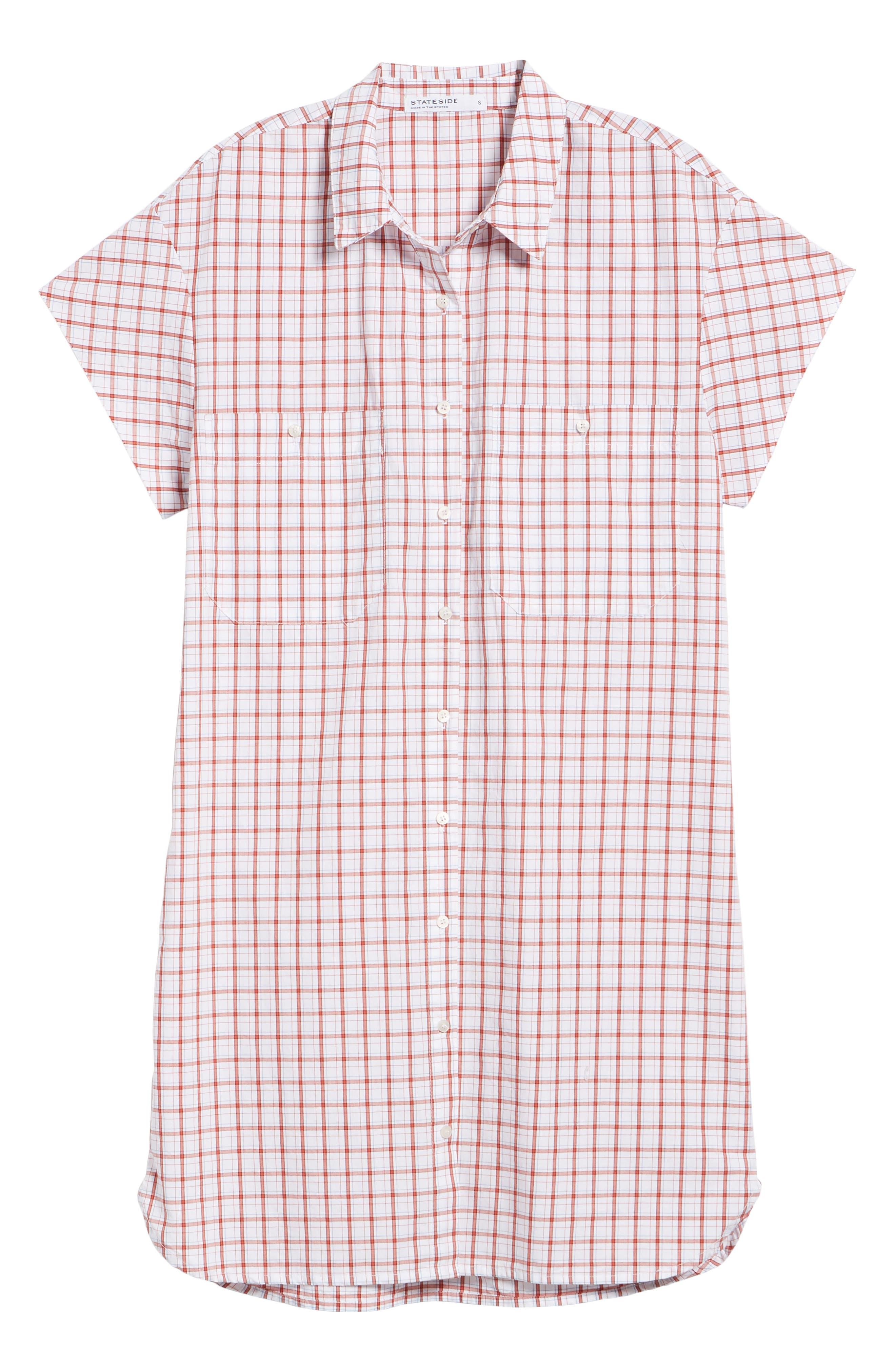 Oxford Shirtdress,                             Alternate thumbnail 6, color,                             Red Plaid