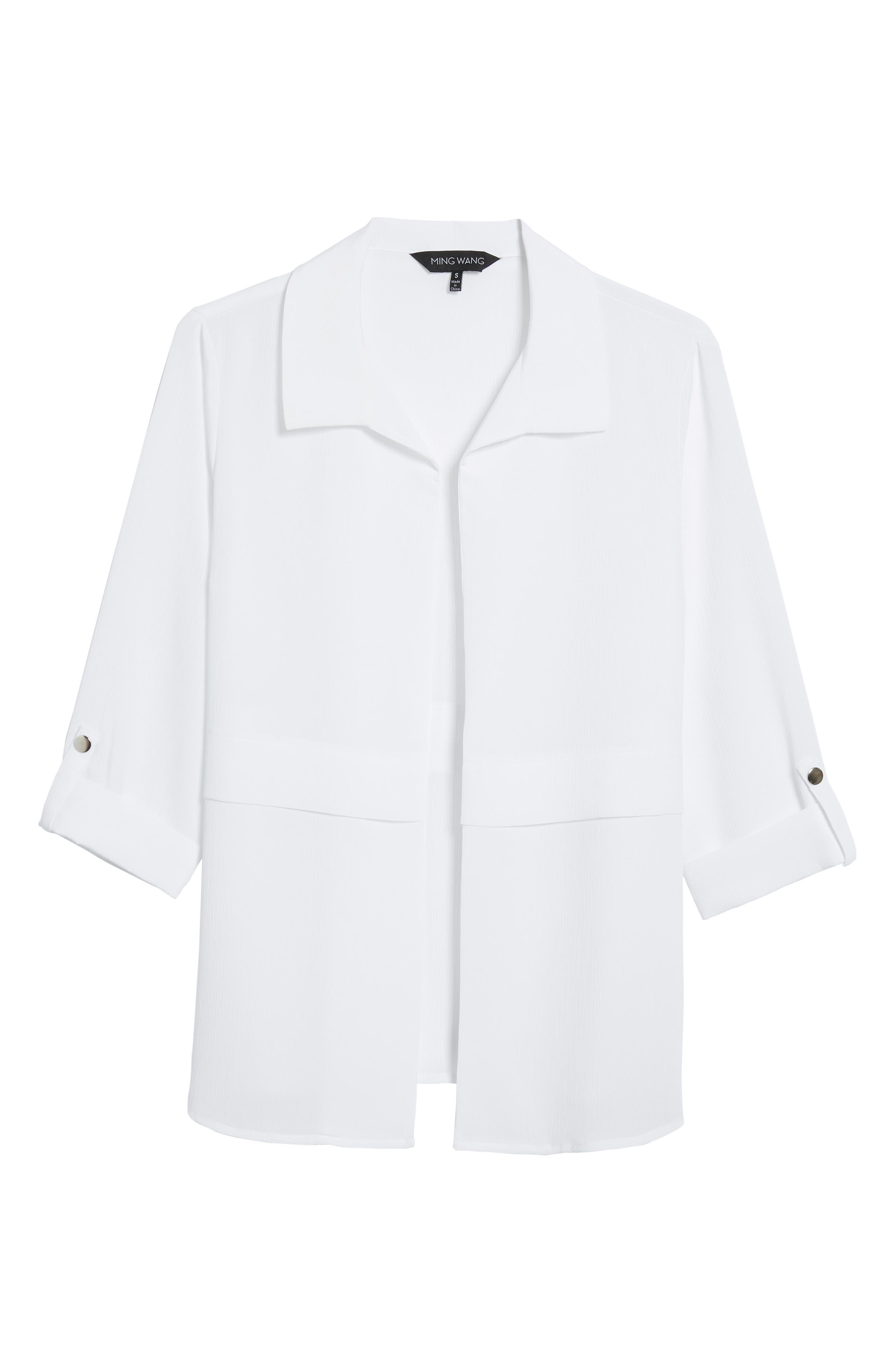 Gauzy Roll-Tab Sleeve Jacket,                             Alternate thumbnail 6, color,                             White