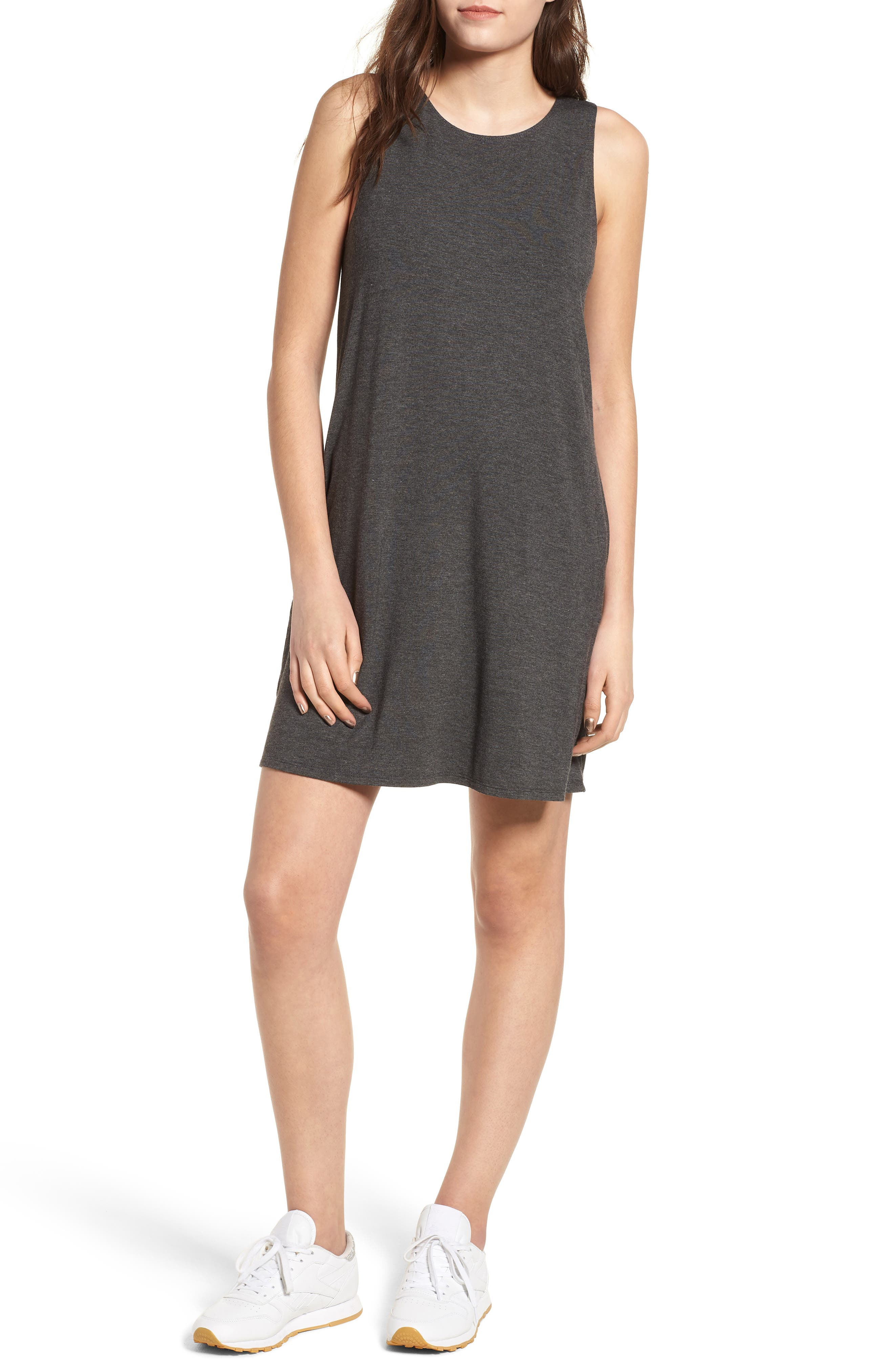 Pocket Tank Dress,                         Main,                         color, Dark Charcoal