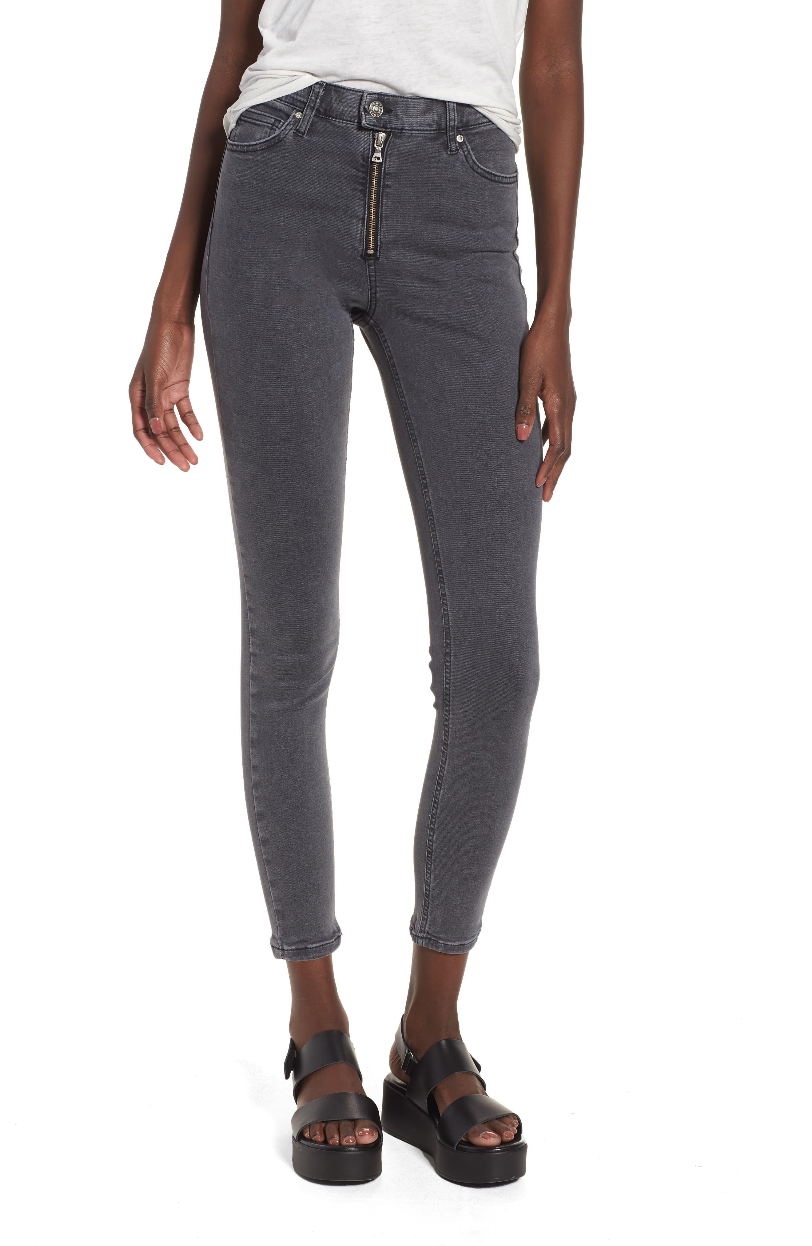 Topshop Moto 'Jamie' Zip Ankle Skinny Jeans (Black)
