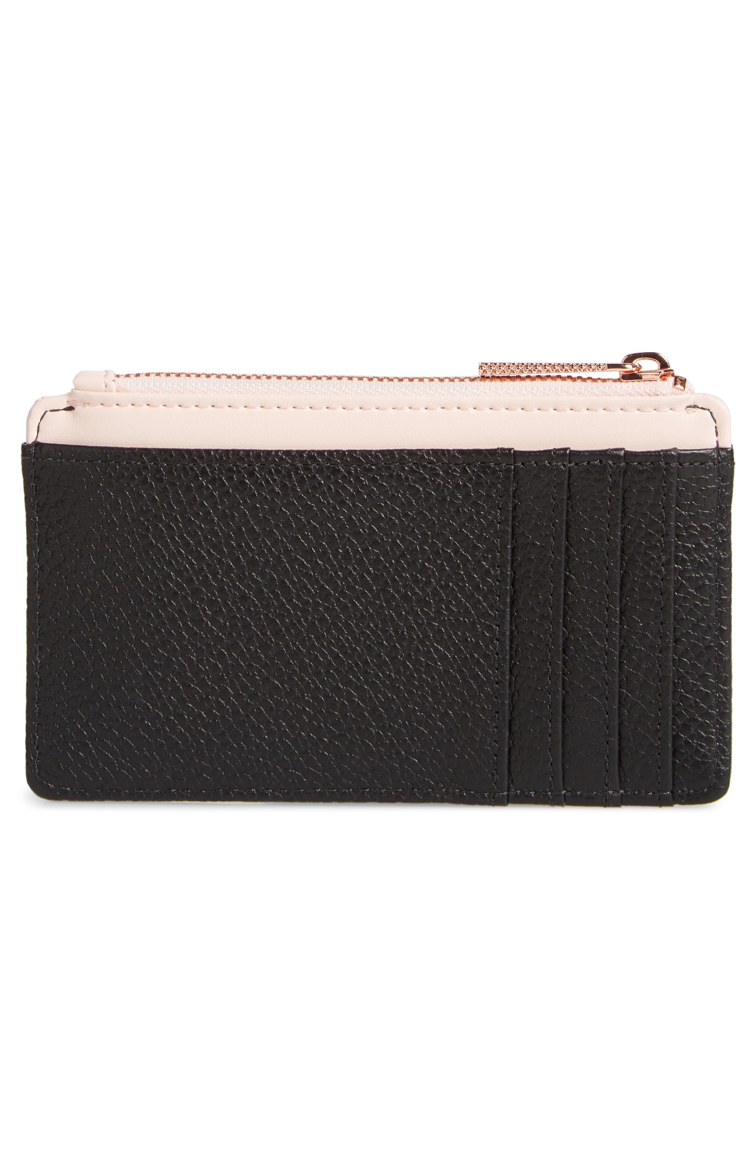 Alica Top Zip Leather Card Case,                             Alternate thumbnail 4, color,                             Black