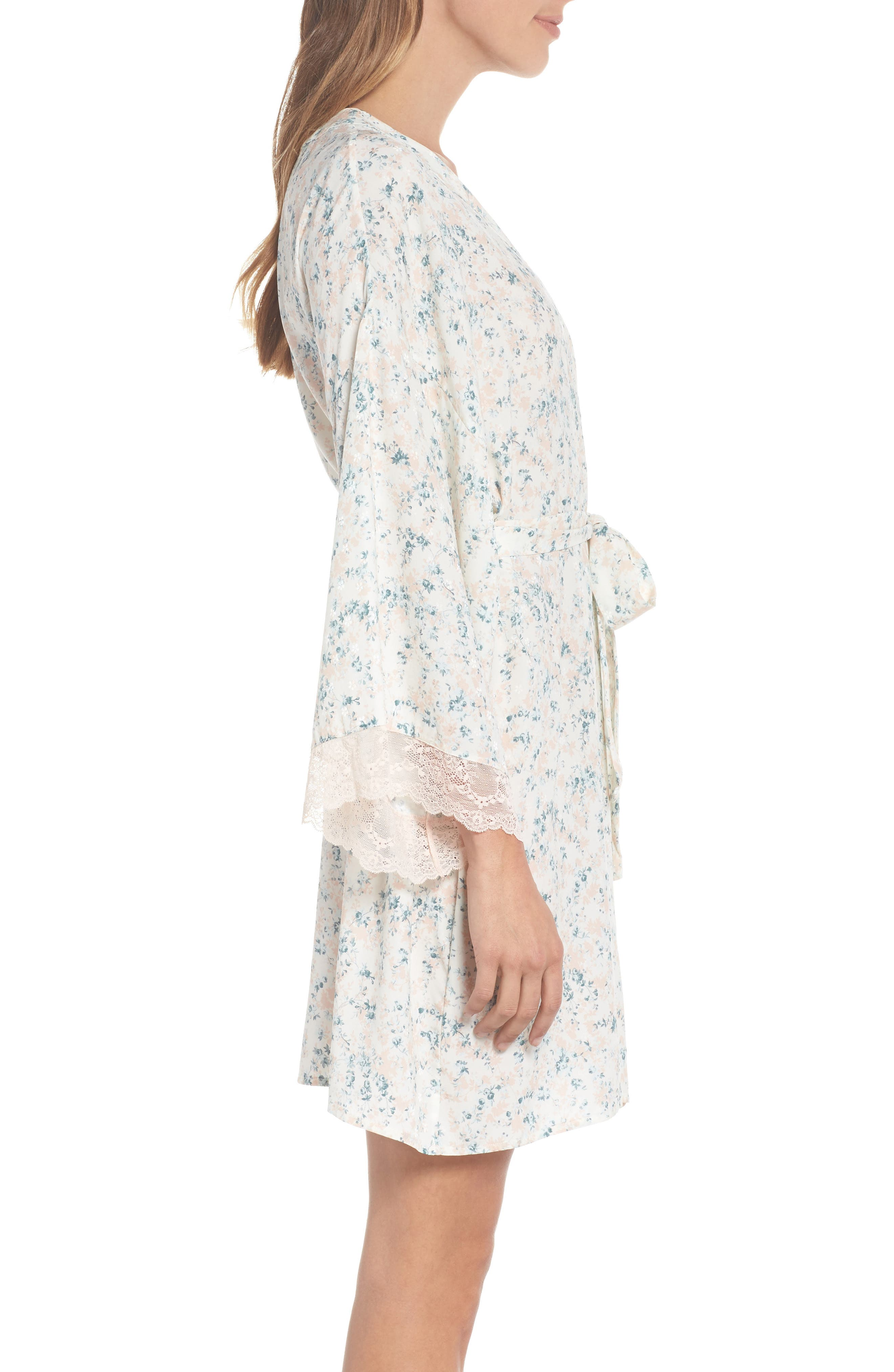 Lily Stretch Silk Short Robe,                             Alternate thumbnail 3, color,                             Ivory Floral Print
