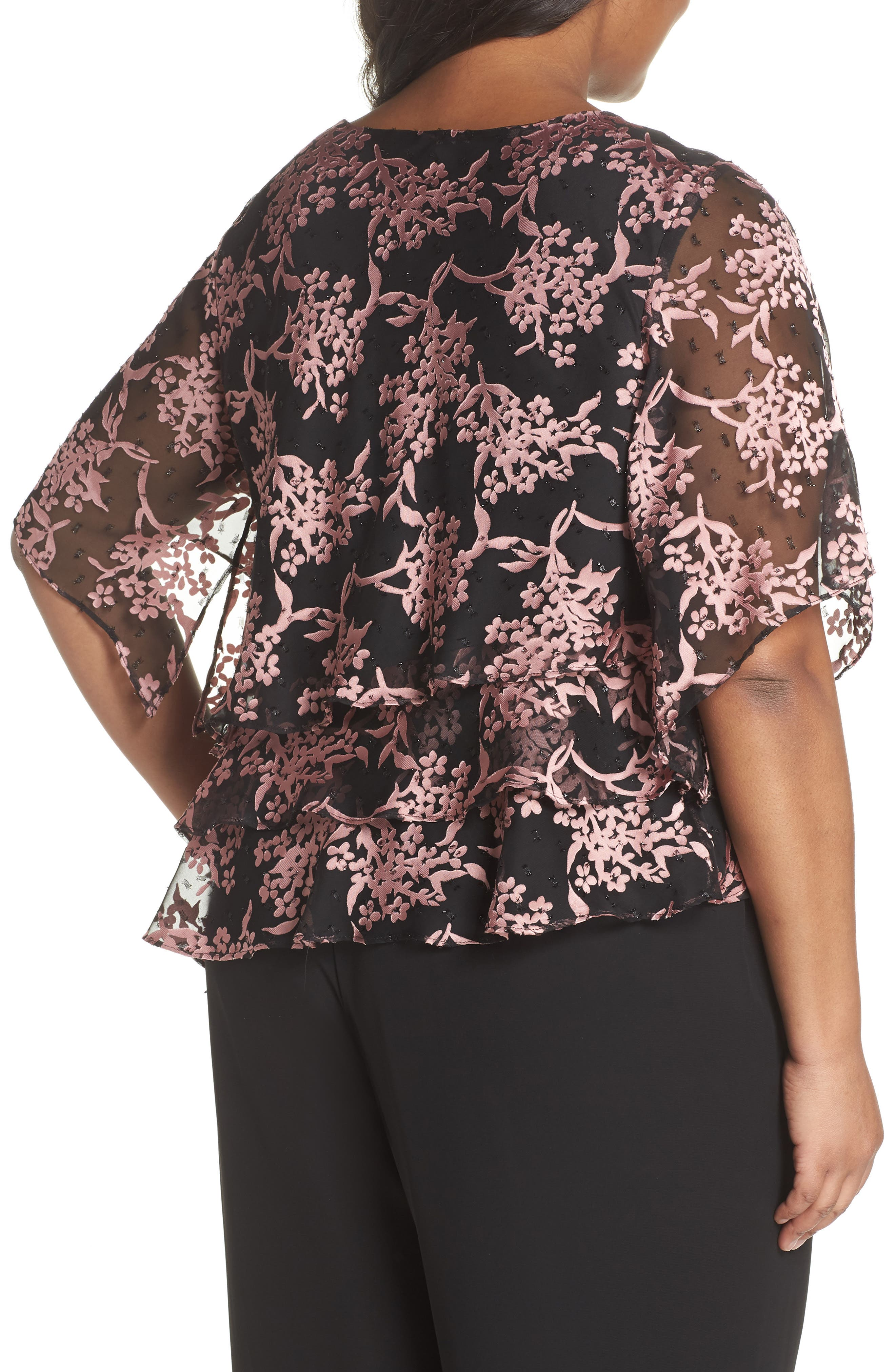 Embroidered Asymmetrical Top,                             Alternate thumbnail 2, color,                             Black/ Coral