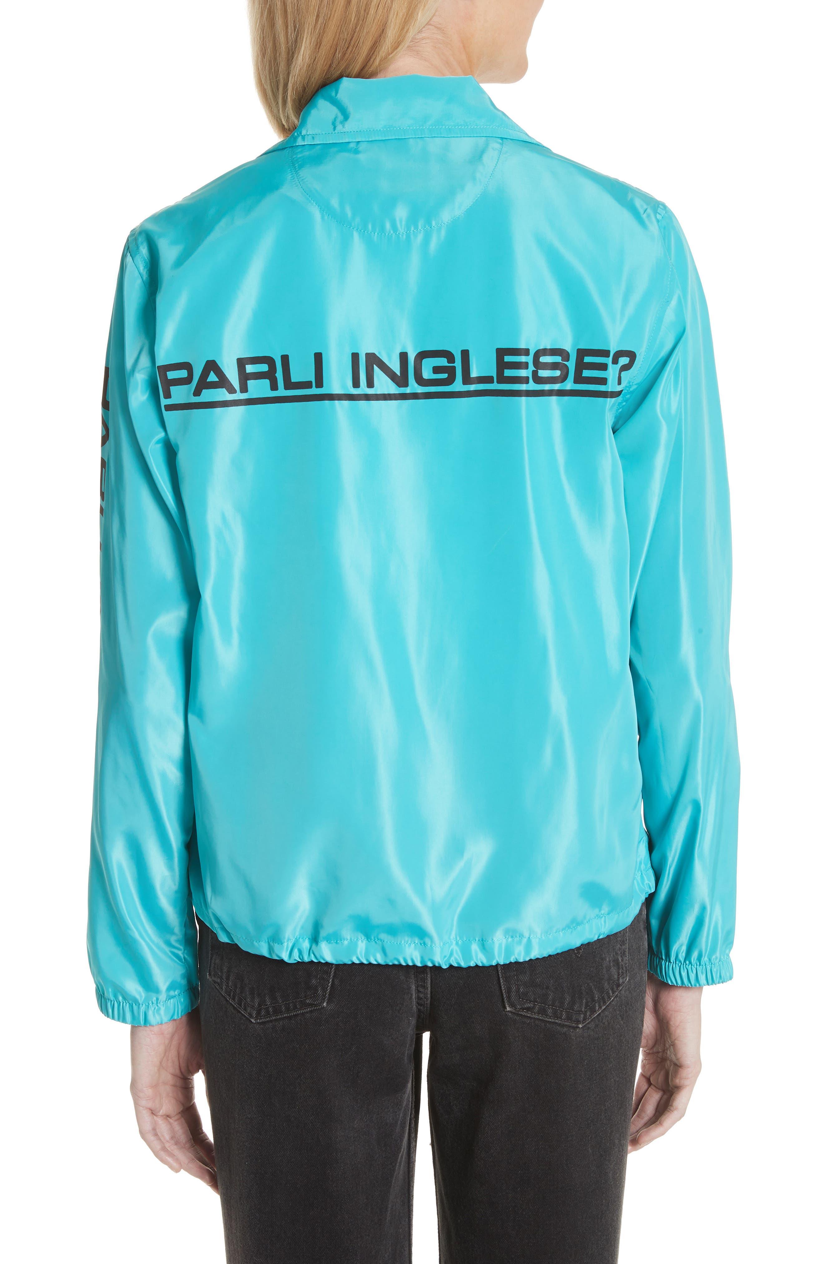 Parli Inglese Coach Jacket,                             Alternate thumbnail 2, color,                             Turquoise