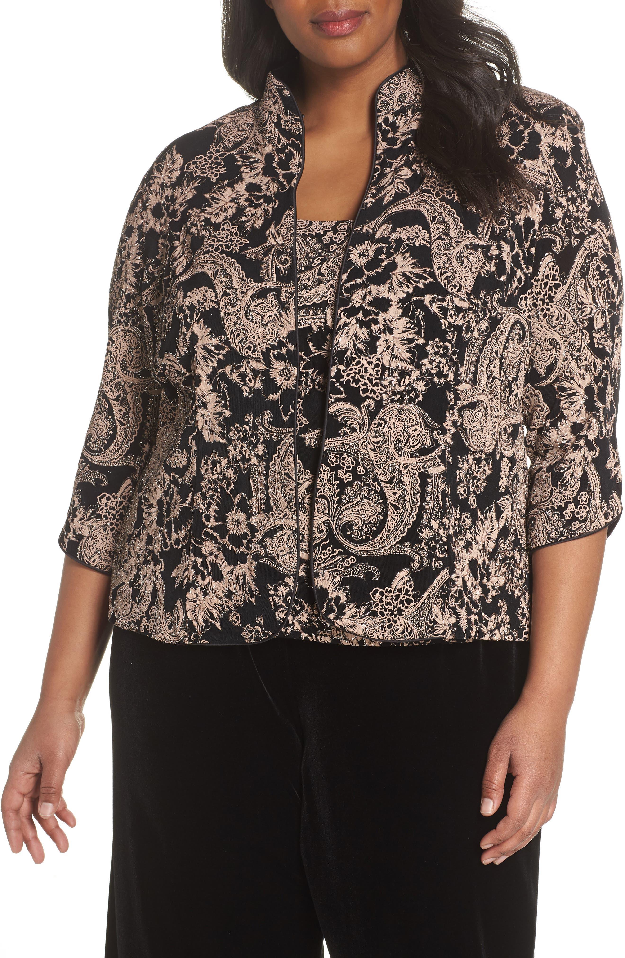 Glitter Print Top & Jacket,                         Main,                         color, Black/ Coral