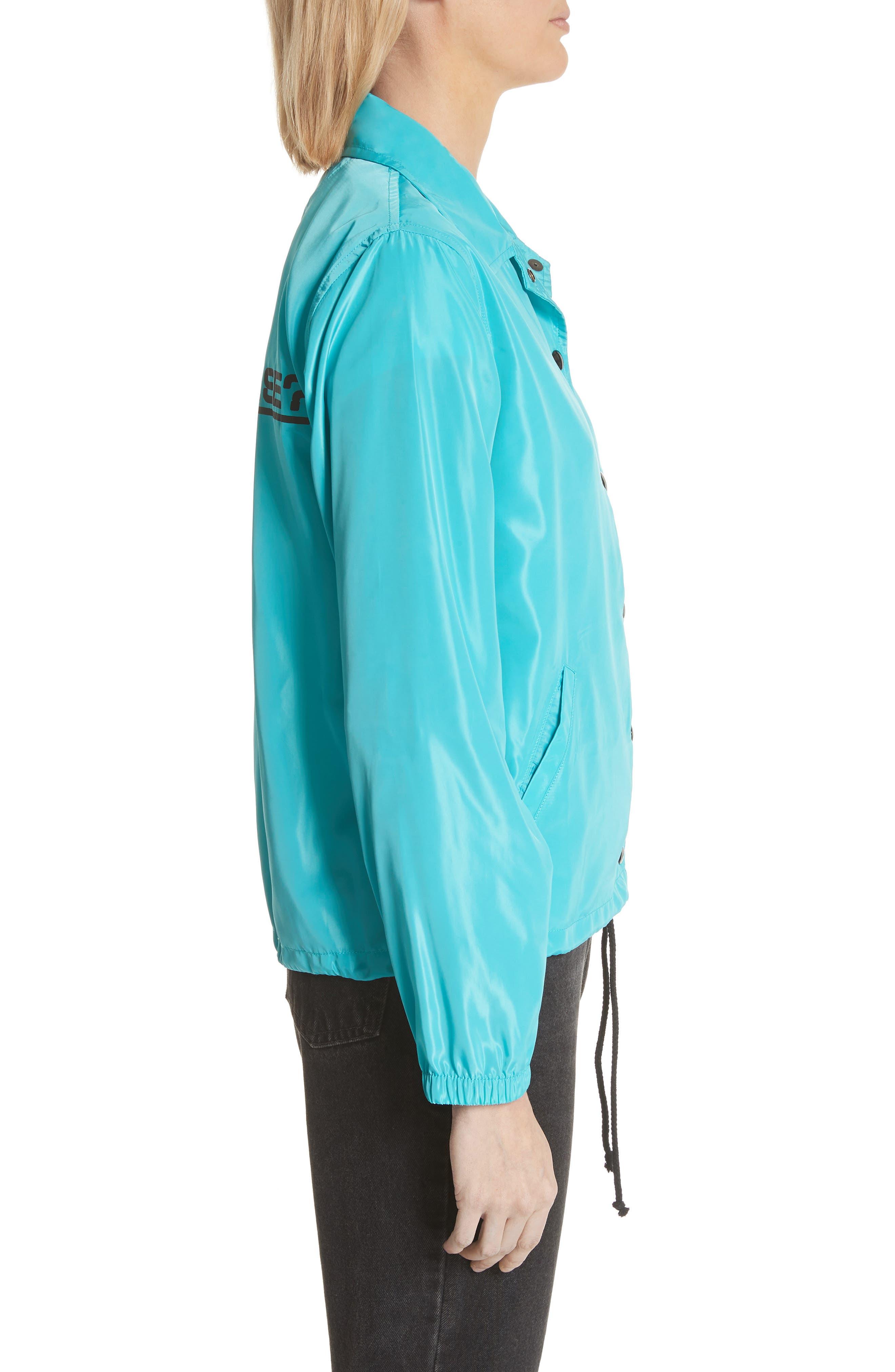 Parli Inglese Coach Jacket,                             Alternate thumbnail 3, color,                             Turquoise