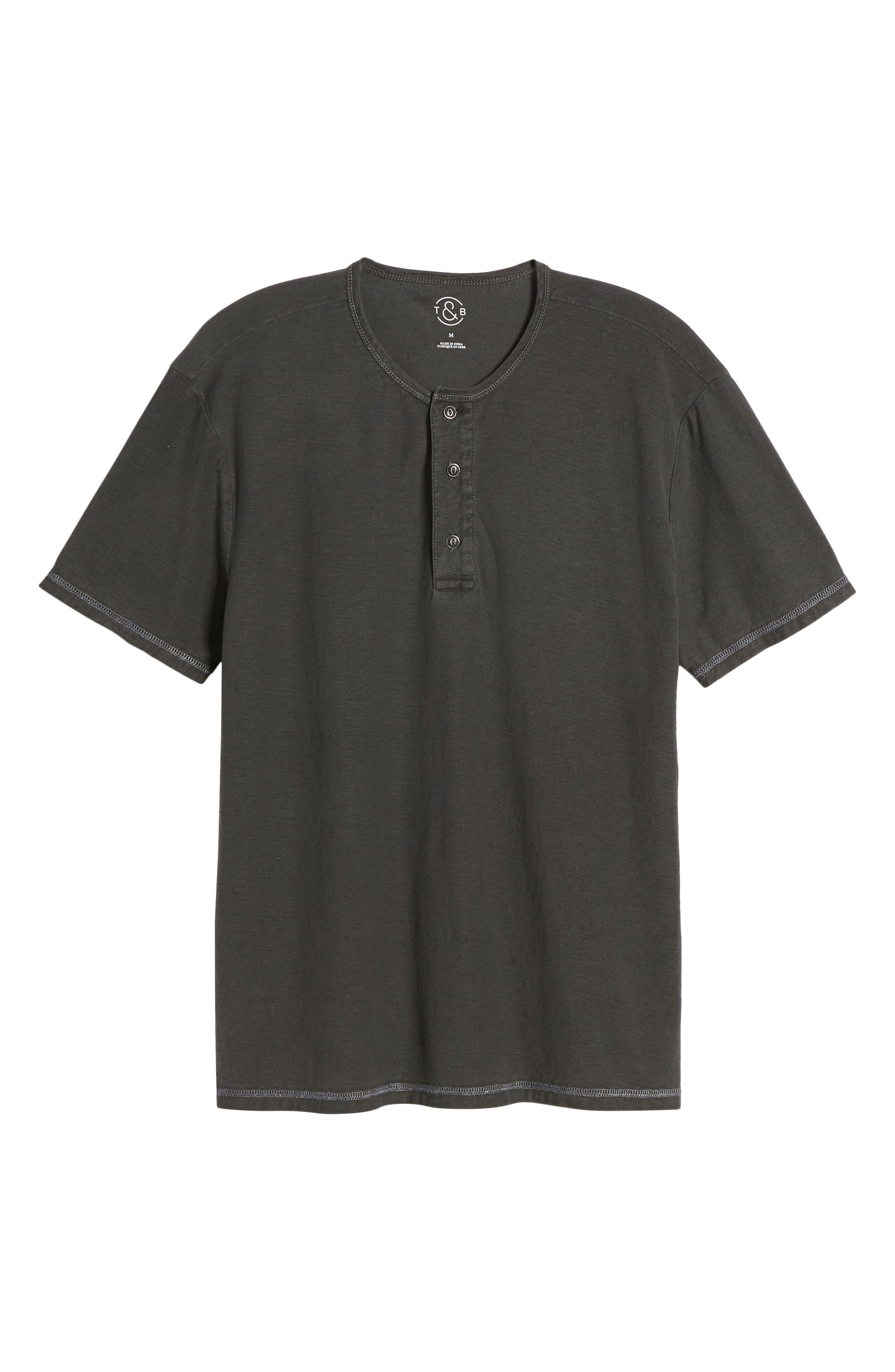 Short Sleeve Cotton Henley,                             Alternate thumbnail 6, color,                             Black