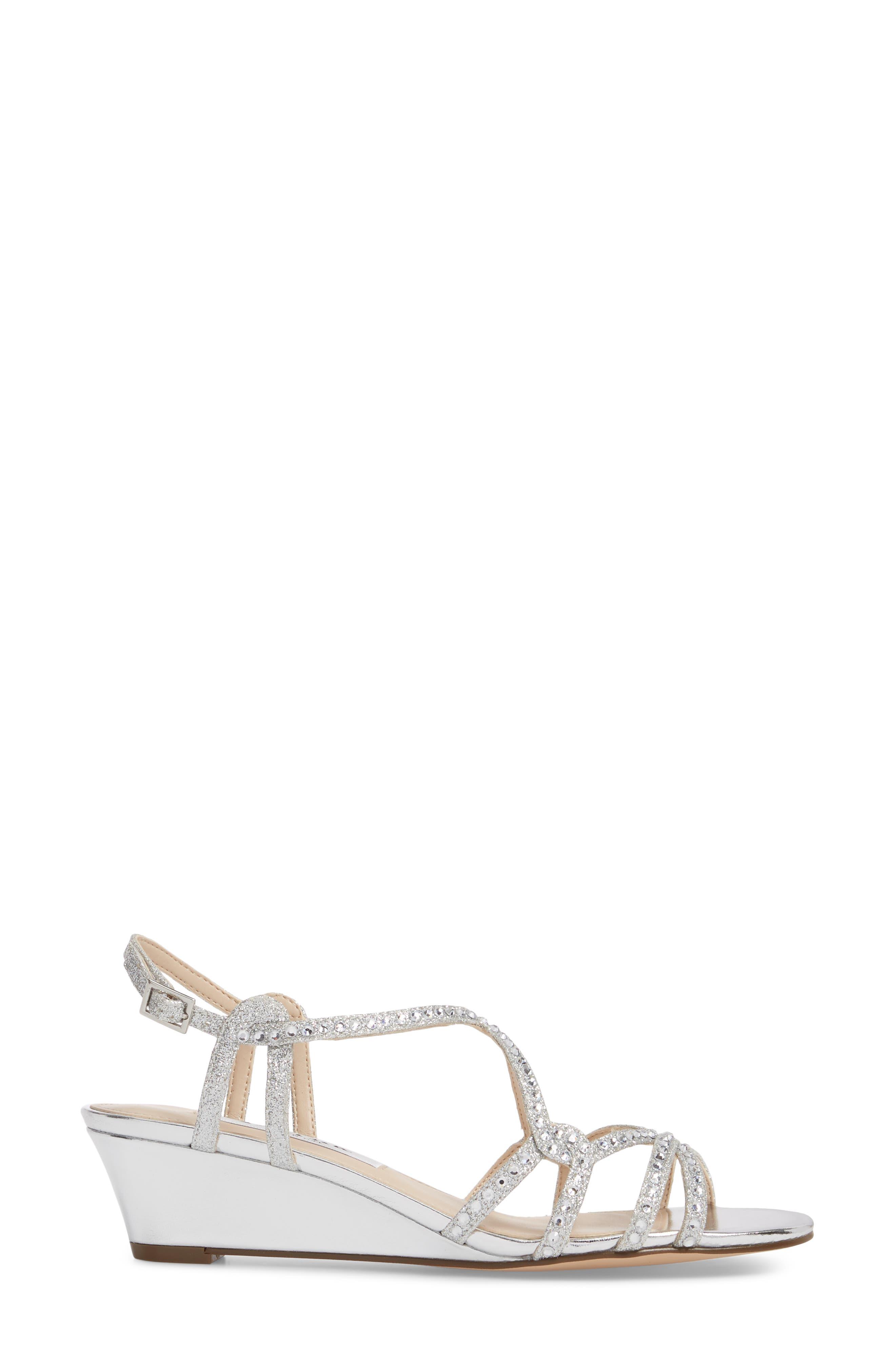 Finola Sandal,                             Alternate thumbnail 3, color,                             Silver Glitter Fabric