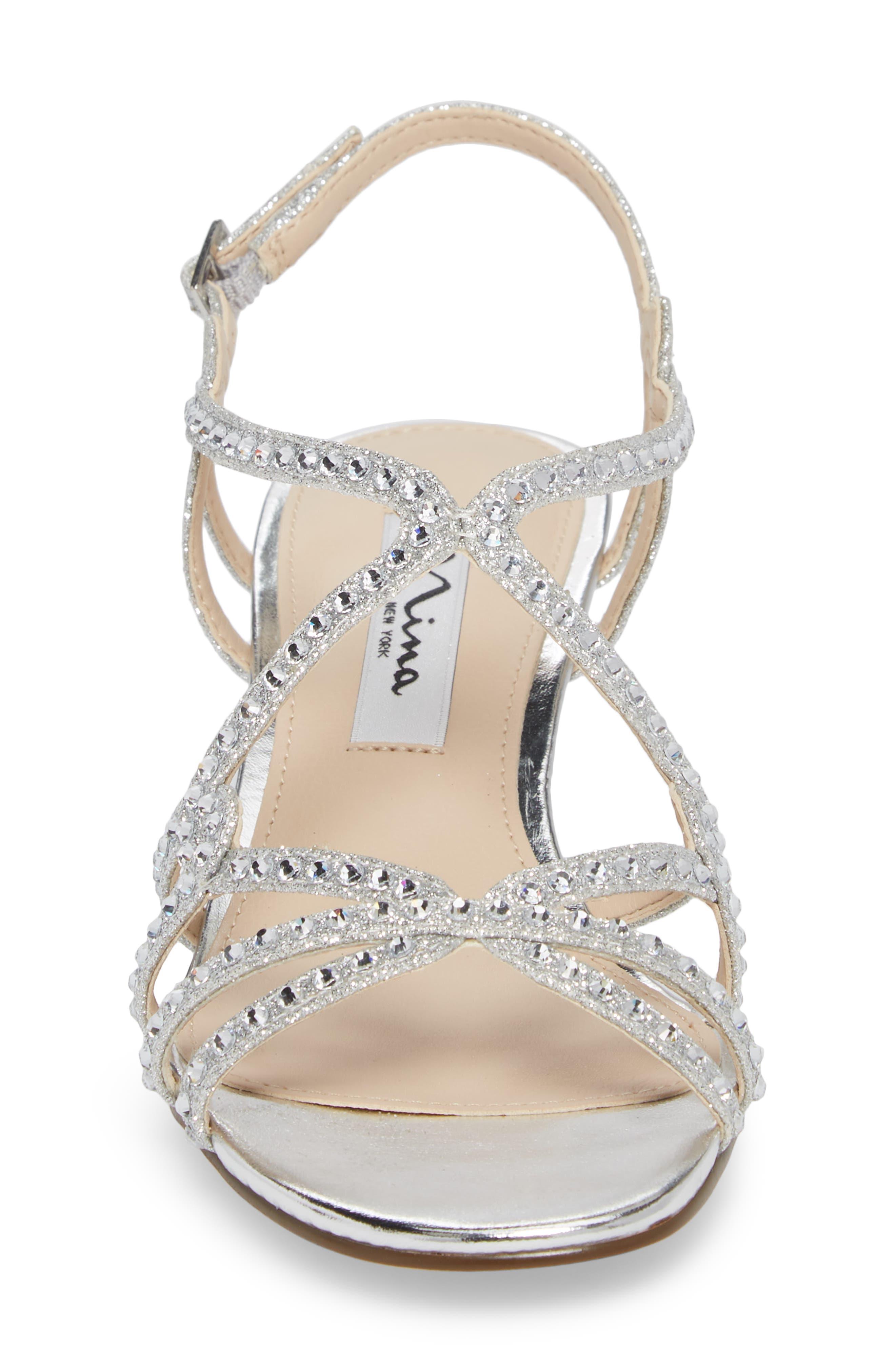 Finola Sandal,                             Alternate thumbnail 4, color,                             Silver Glitter Fabric