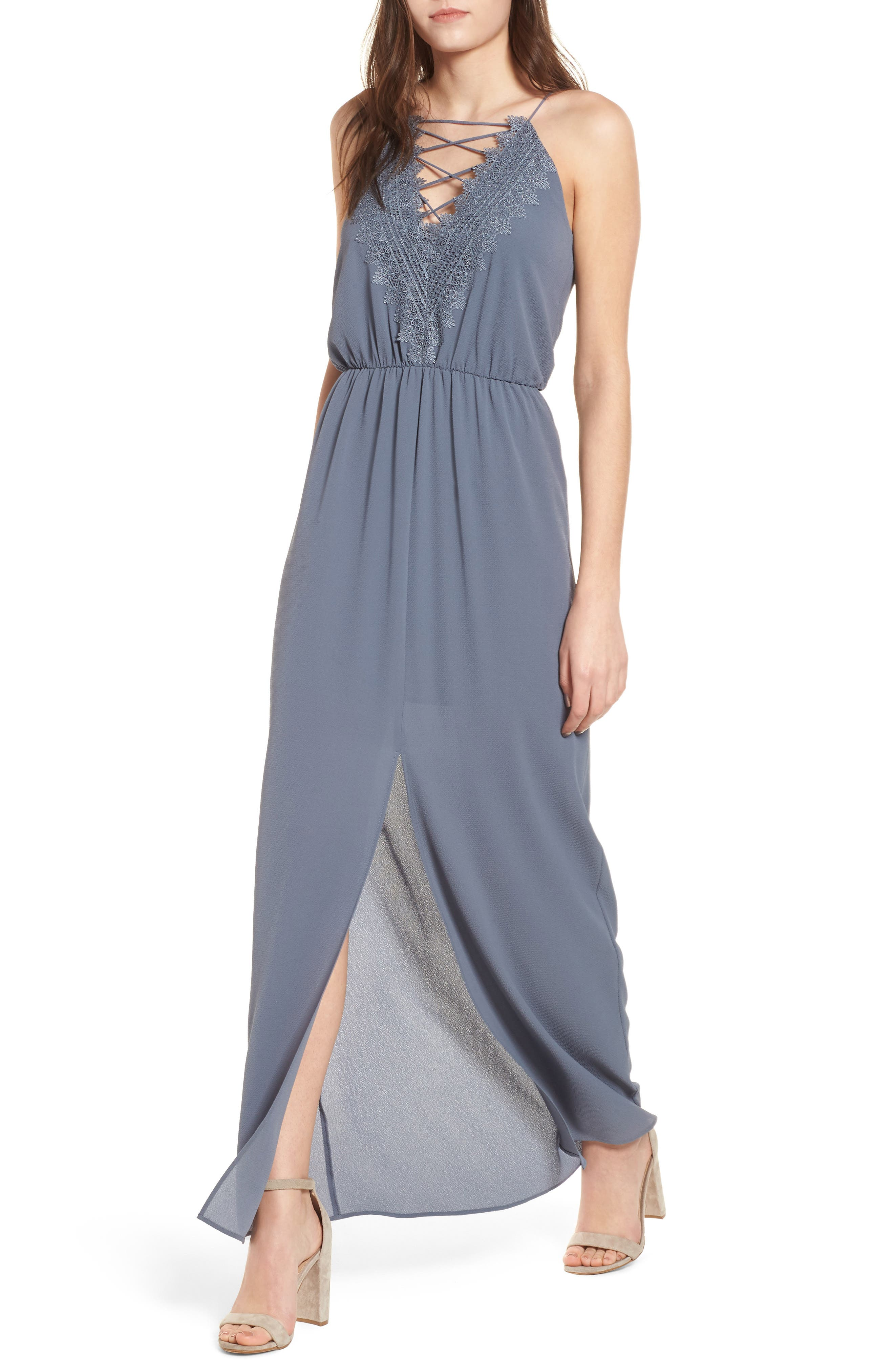Posie Maxi Dress,                         Main,                         color, Grey Grisaille