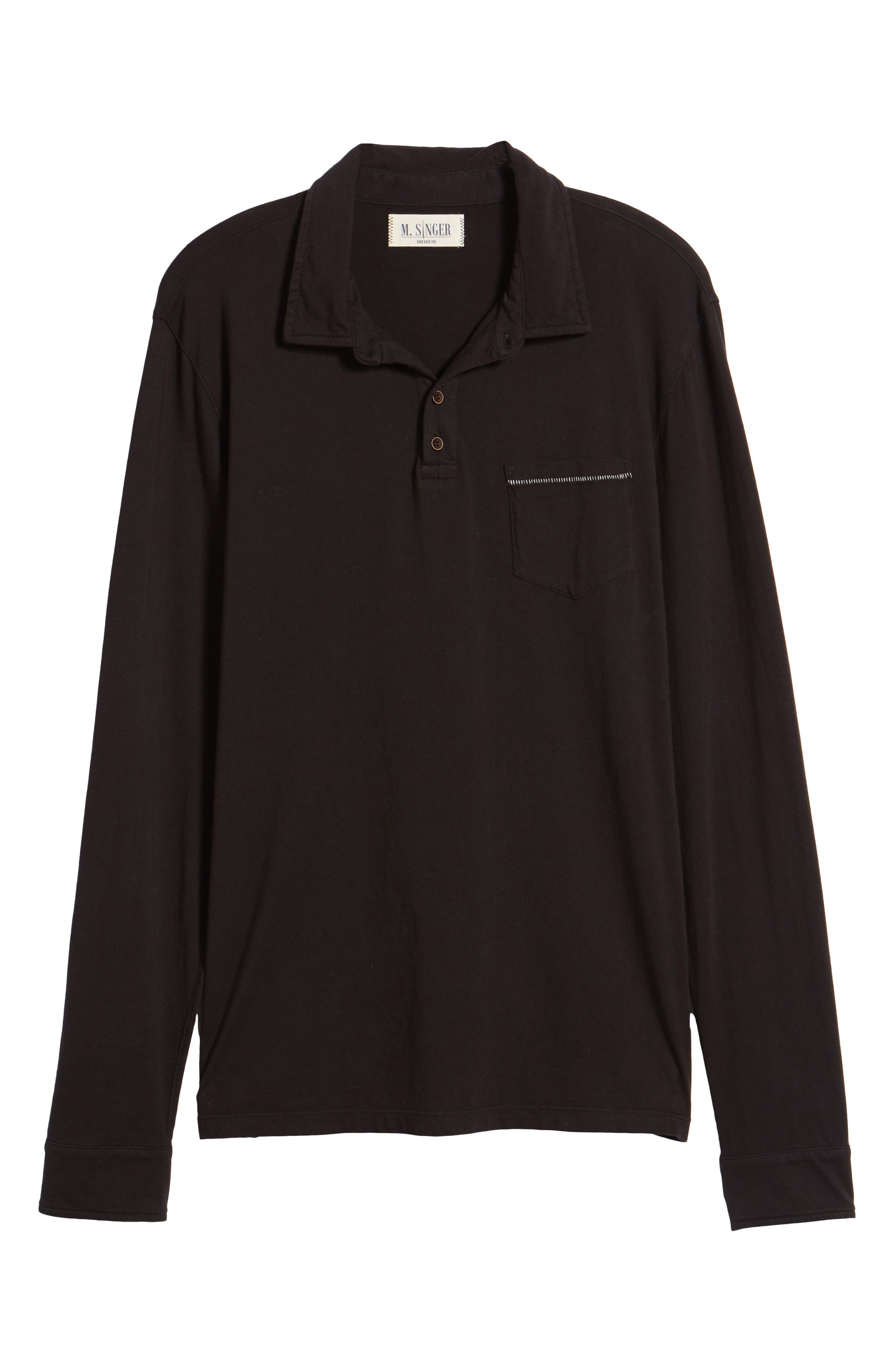 Long Sleeve Jersey Polo,                             Alternate thumbnail 6, color,                             Black