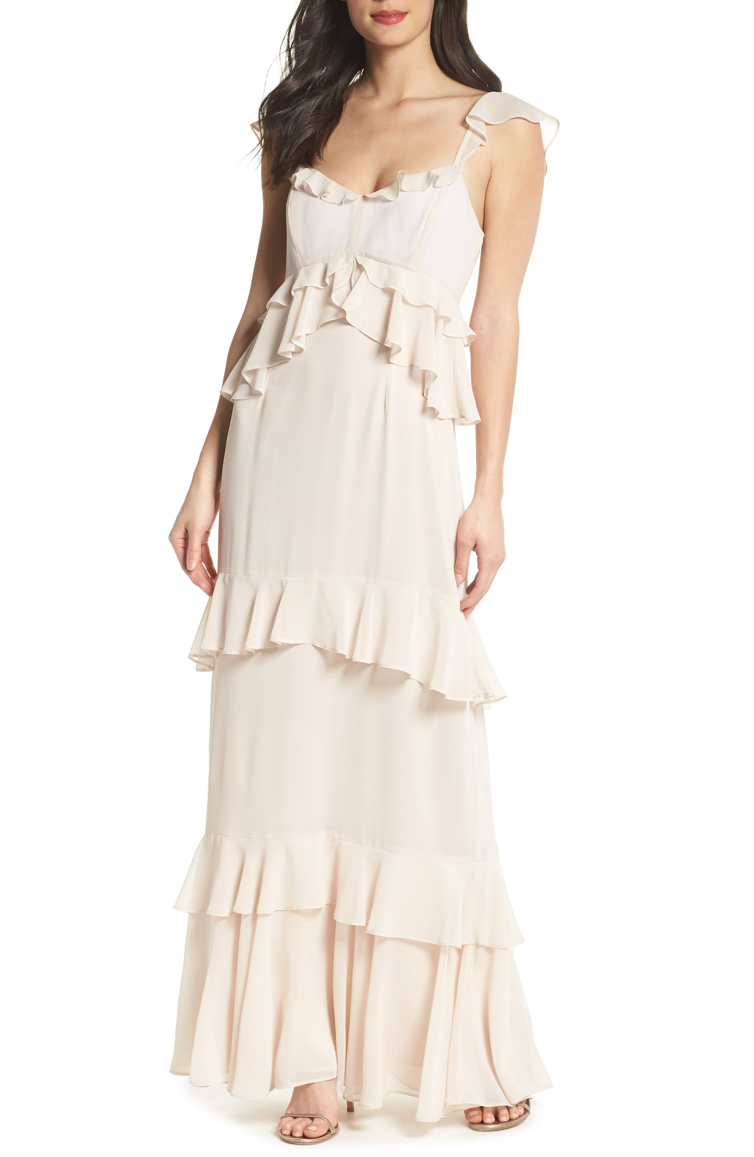 The Gywneth Ruffle Maxi Gown,                             Main thumbnail 1, color,                             Champagne