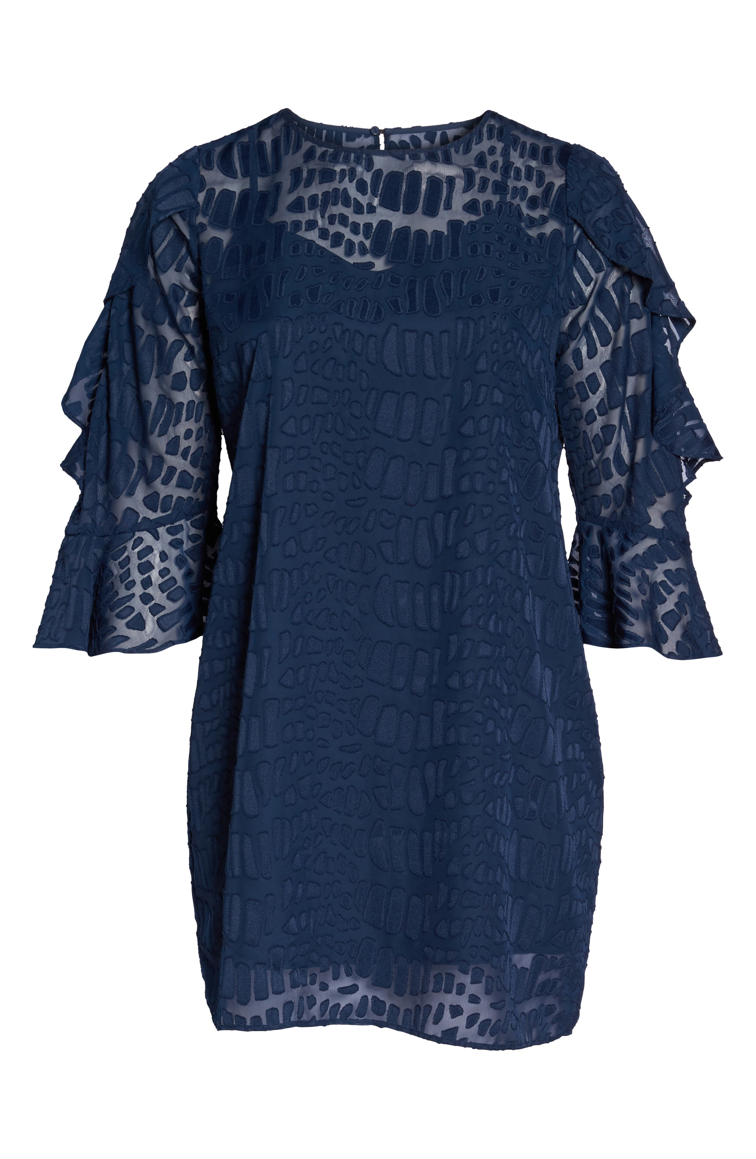 Into the Pines Shift Dress,                             Alternate thumbnail 6, color,                             Navy