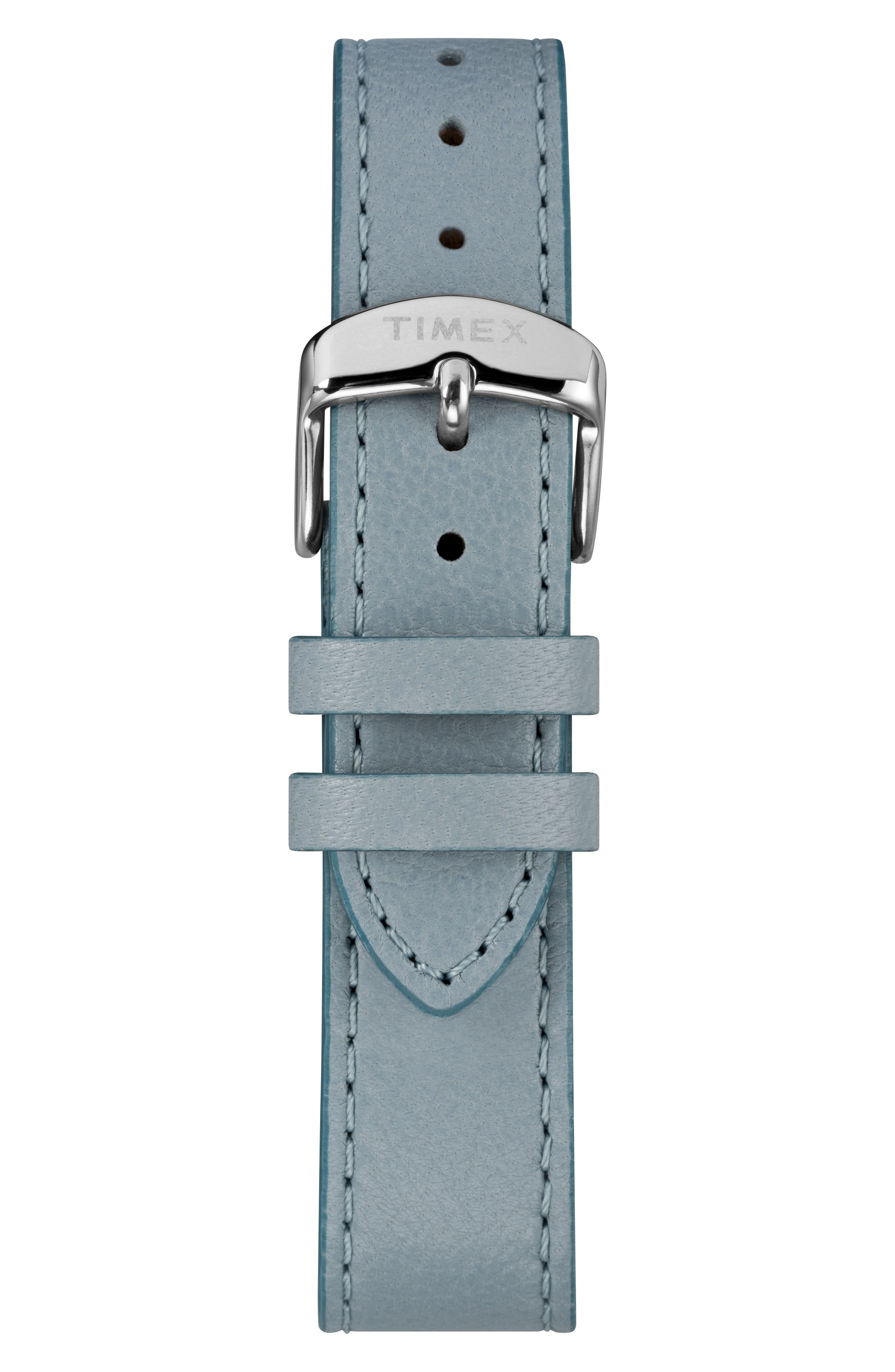 Timex Fairfield Leather Strap Watch, 37mm,                             Alternate thumbnail 3, color,                             Blue/White/Silver