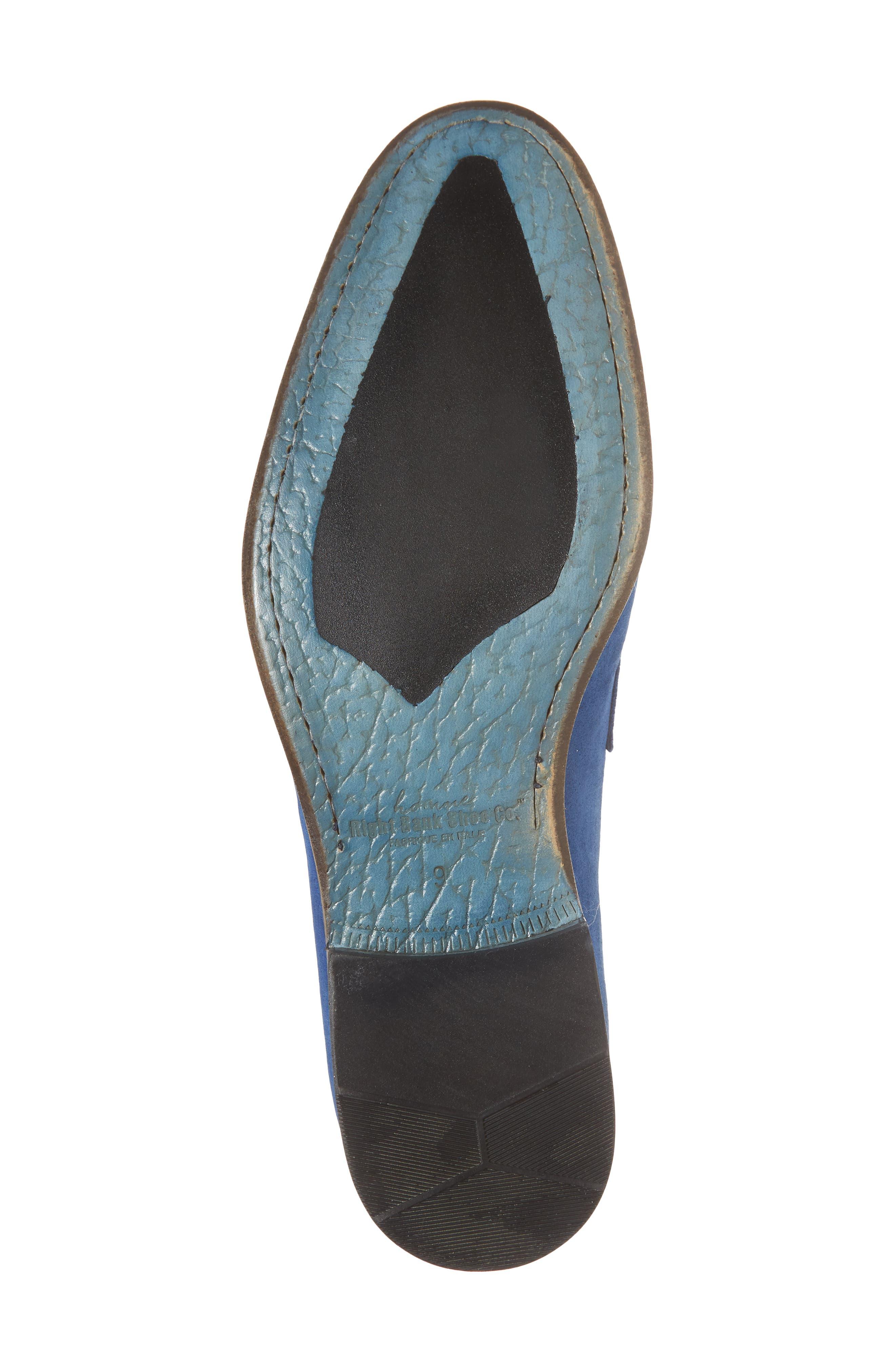 Lex Apron Toe Penny Loafer,                             Alternate thumbnail 6, color,                             Blue Suede
