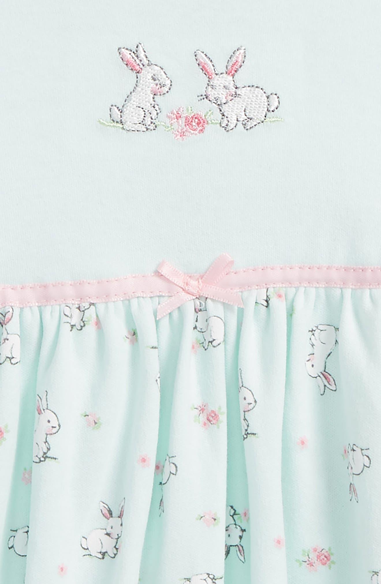 Bunnies Skirted Bodysuit,                             Alternate thumbnail 2, color,                             Mint Print