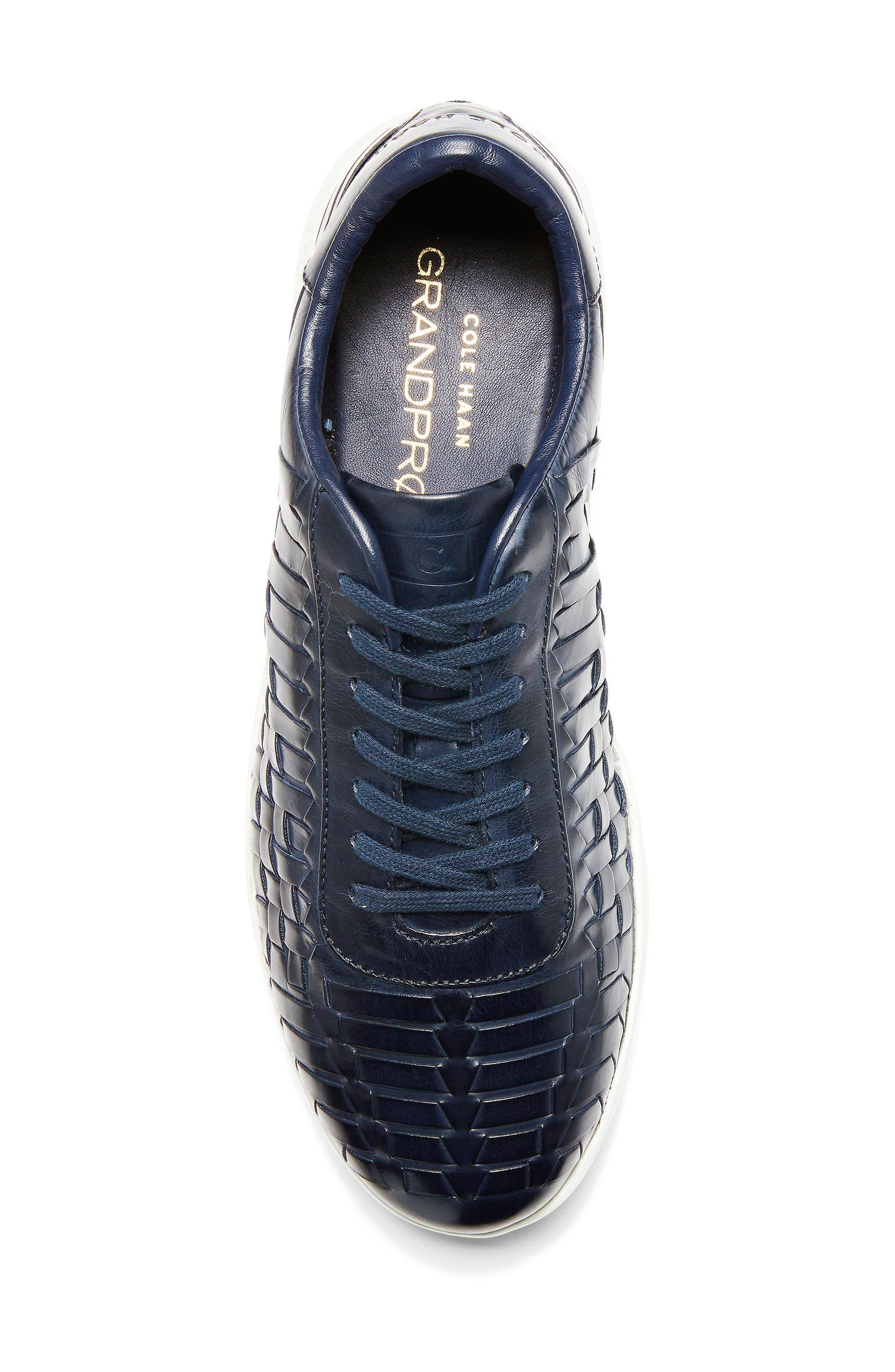 GrandPro Tennis Huarache Sneaker,                             Alternate thumbnail 5, color,                             Navy Woven Burnish