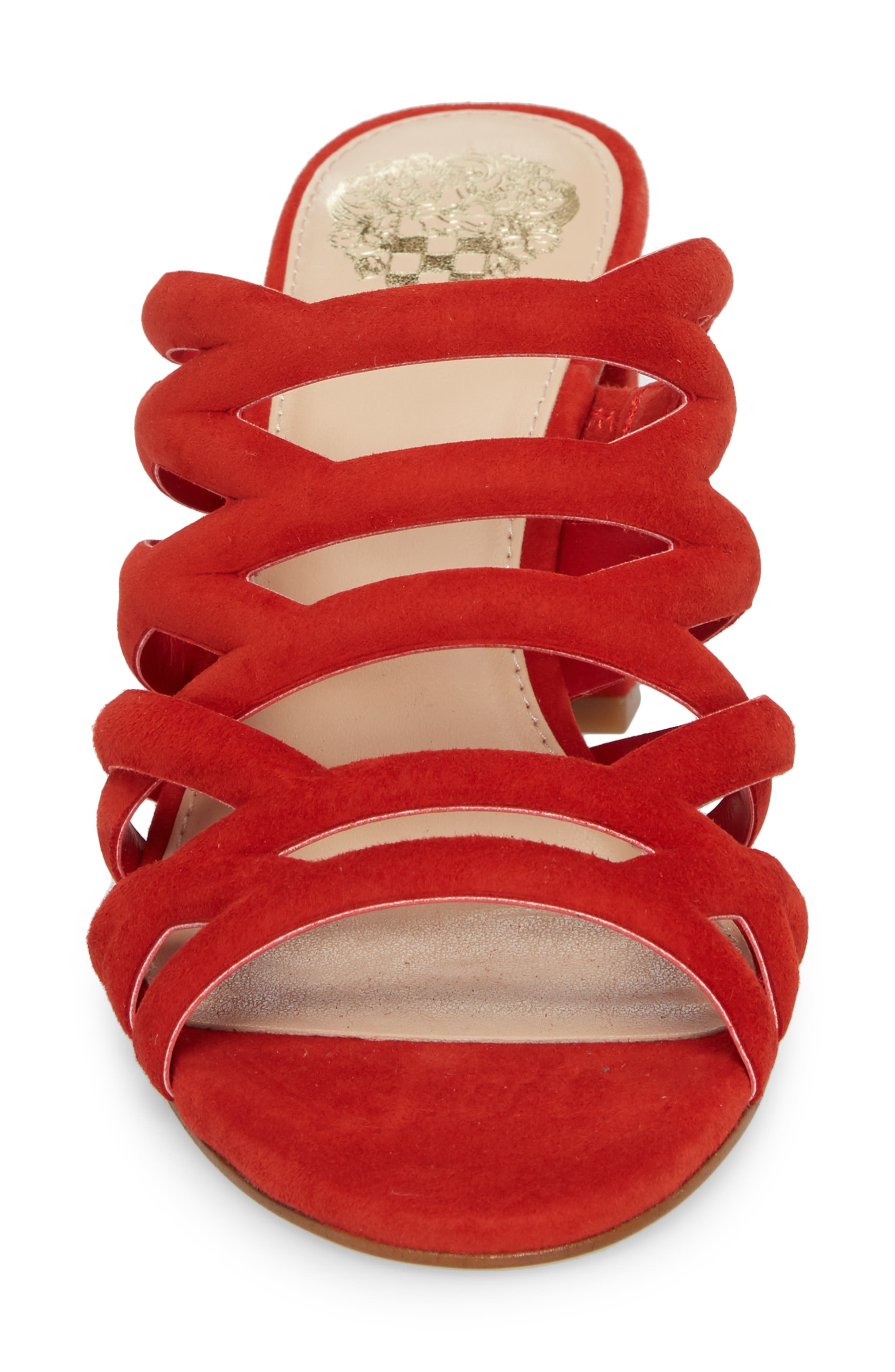 Raveana Cage Mule,                             Alternate thumbnail 4, color,                             Red Hot Rio Suede