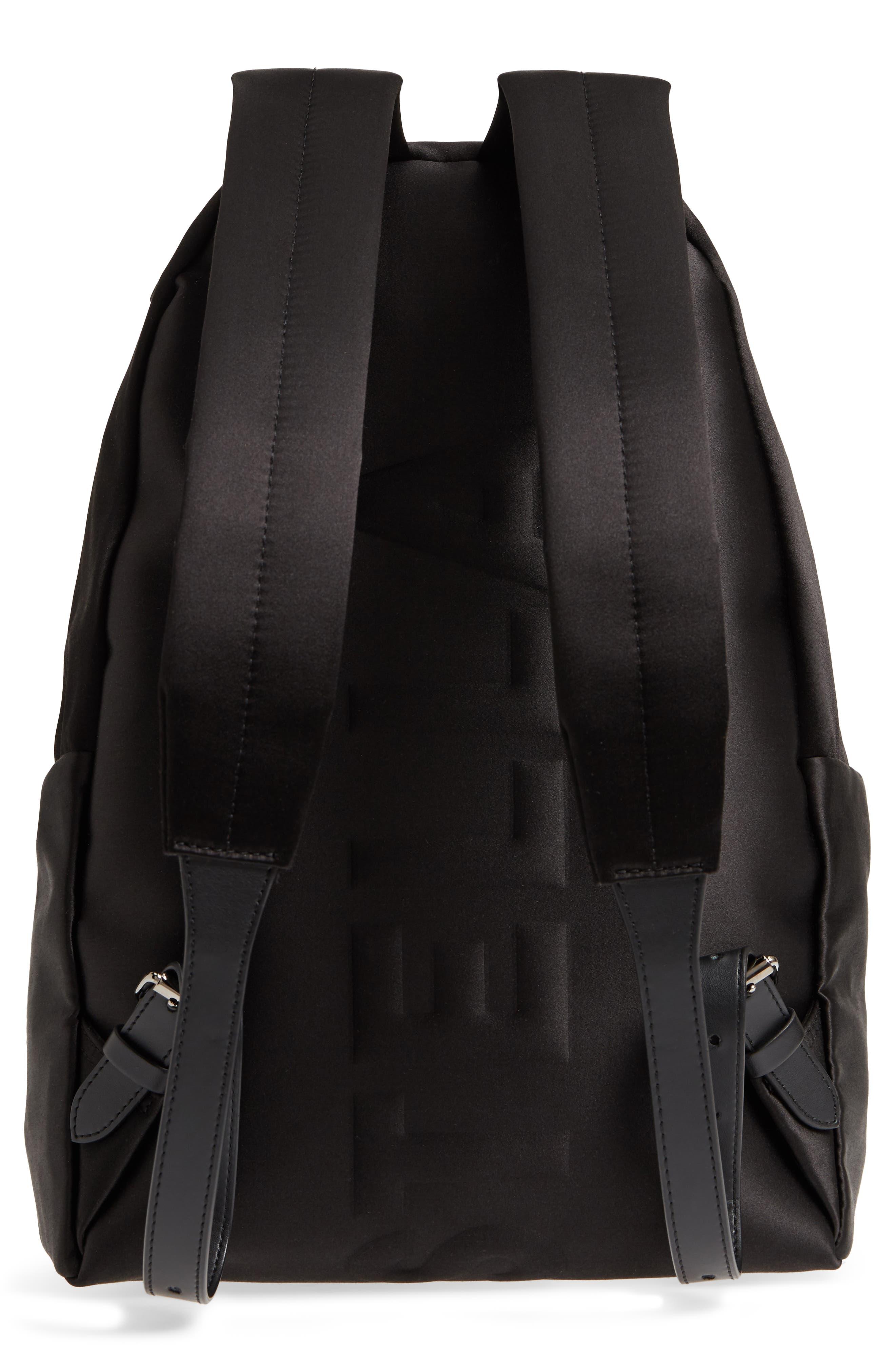 Logo Embossed Satin Backpack,                             Alternate thumbnail 3, color,                             Black
