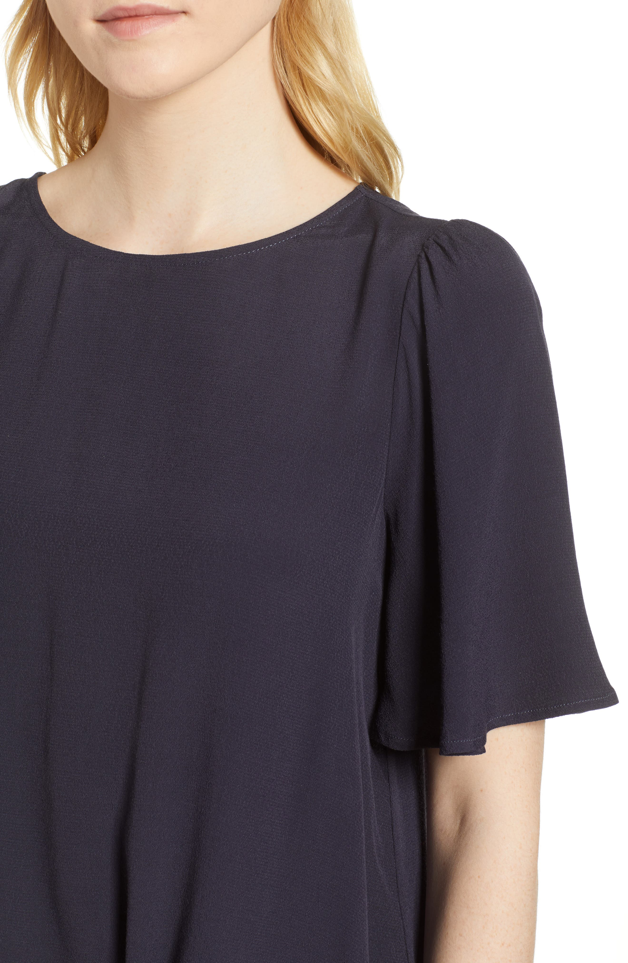 Ruffle Tie Front Top,                             Alternate thumbnail 4, color,                             Navy Well