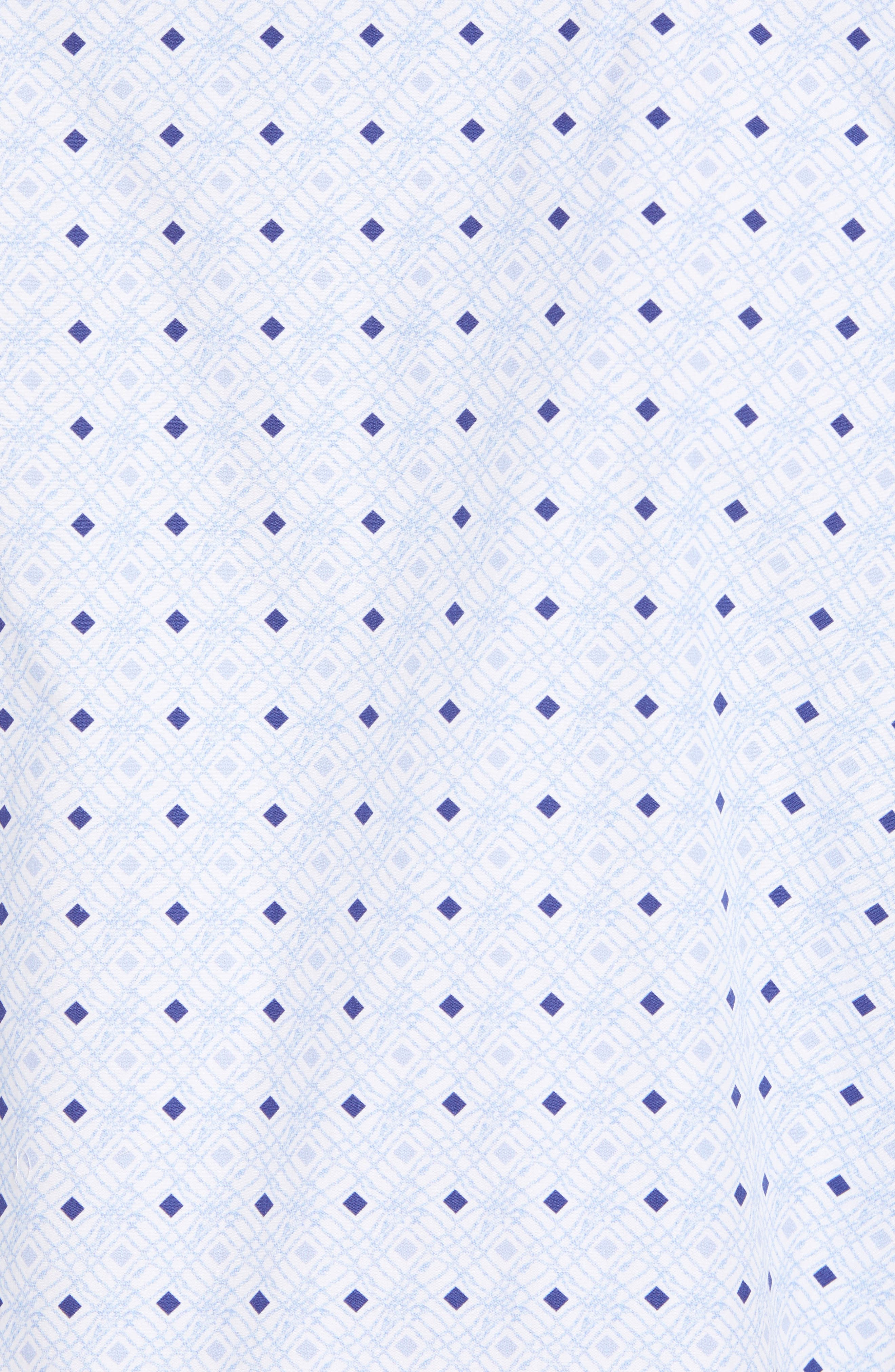 Shaped Fit Geo Print Sport Shirt,                             Alternate thumbnail 5, color,                             Sky
