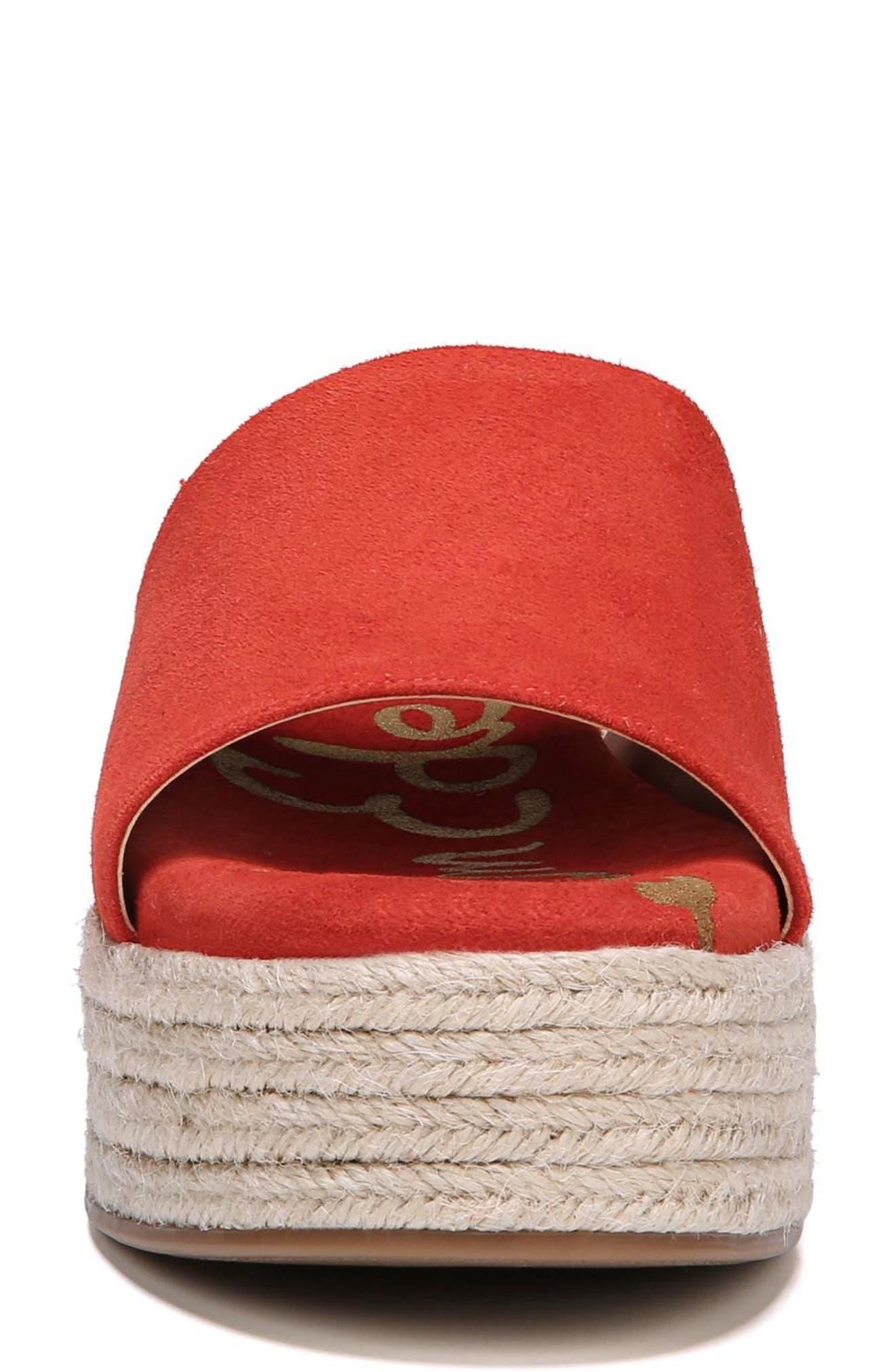 Weslee Platform Slide Sandal,                             Alternate thumbnail 4, color,                             Candy Red Suede