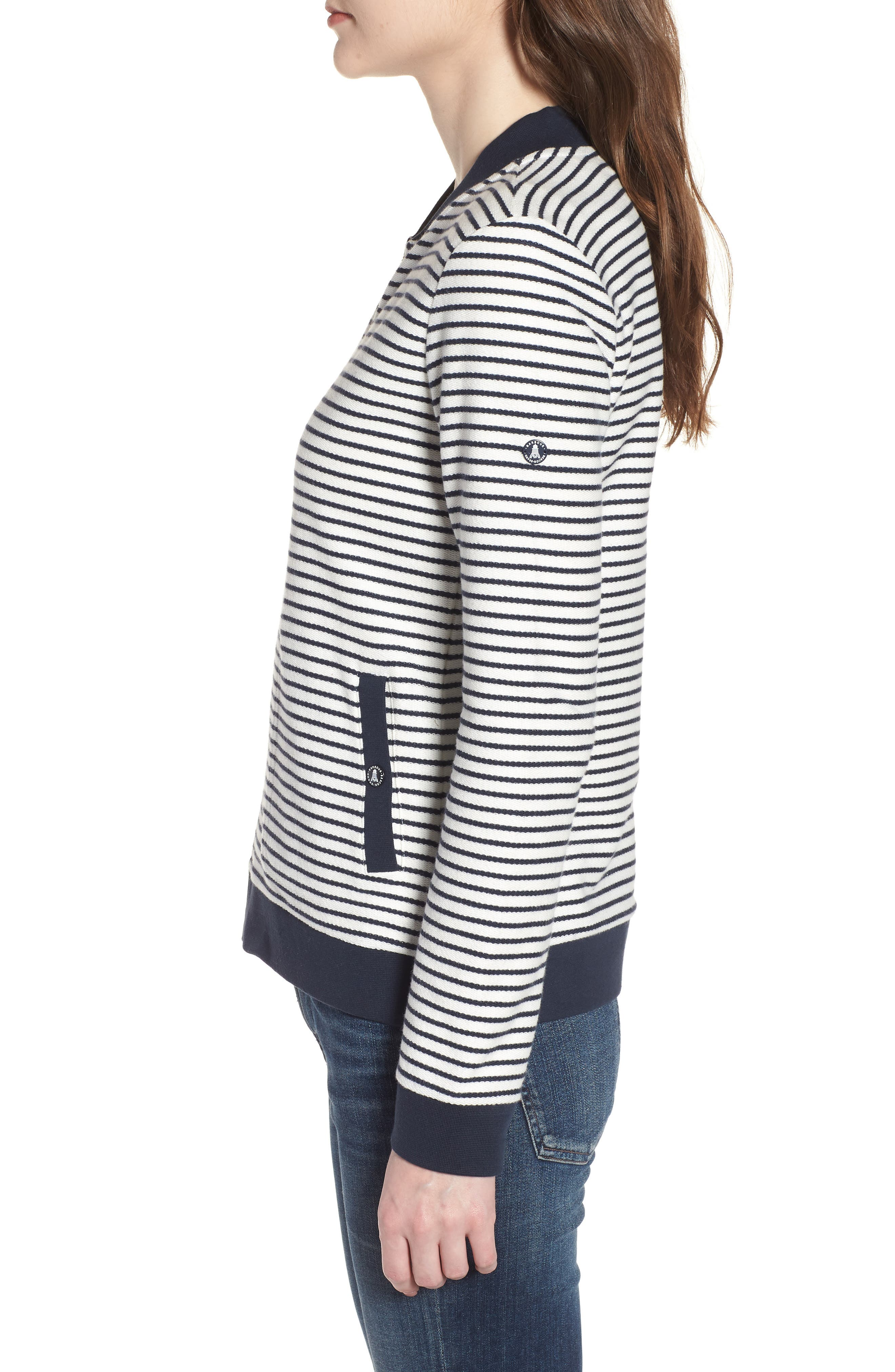 Bamburgh Sweater Jacket,                             Alternate thumbnail 3, color,                             White/ Navy