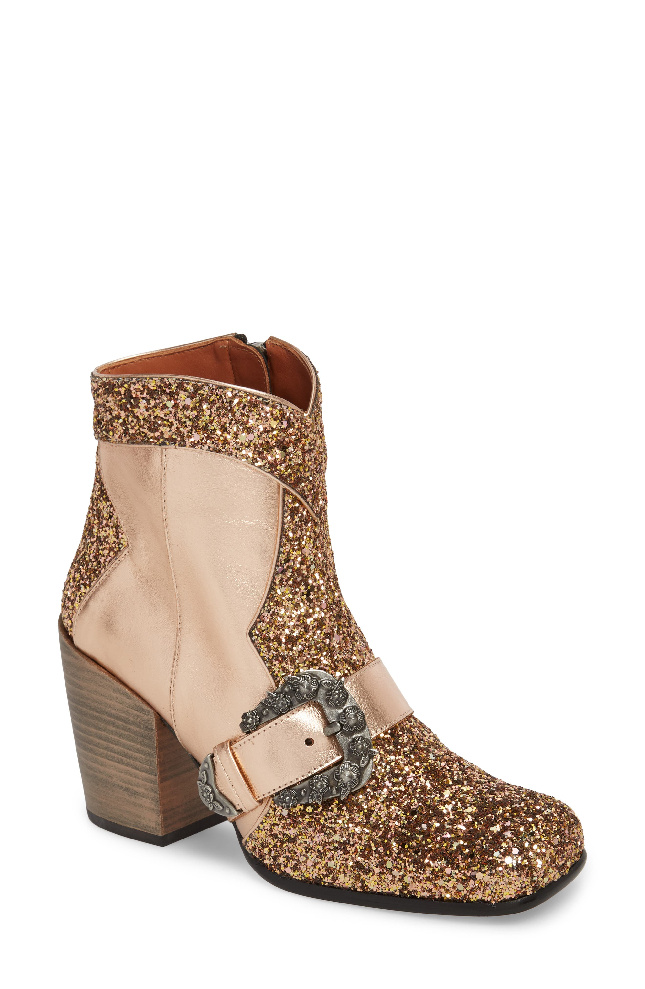 Glitter Western Bootie,                             Main thumbnail 1, color,                             Rose Gold Leather