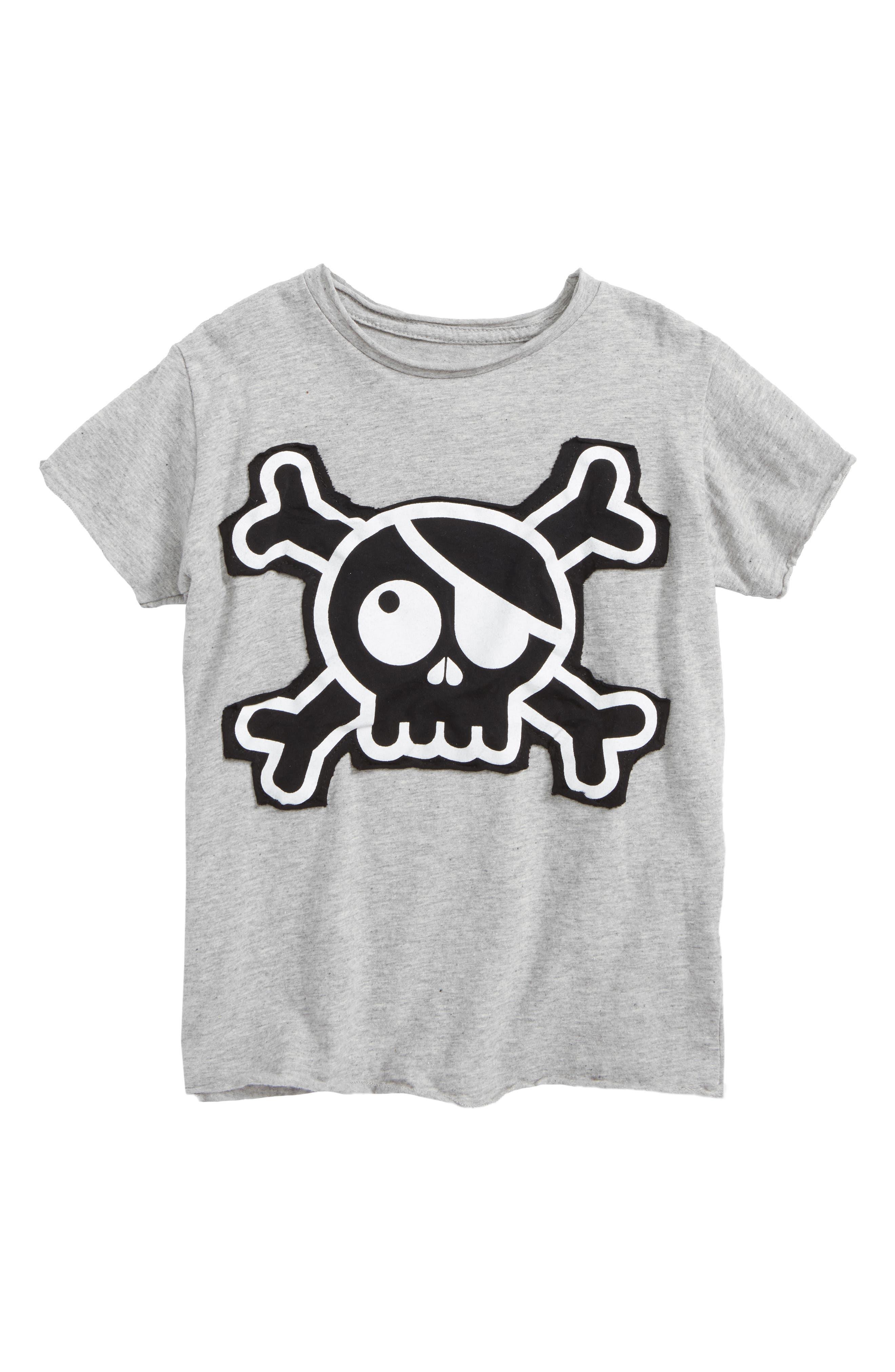 Skull Appliqué T-Shirt,                             Main thumbnail 1, color,                             Heather Grey