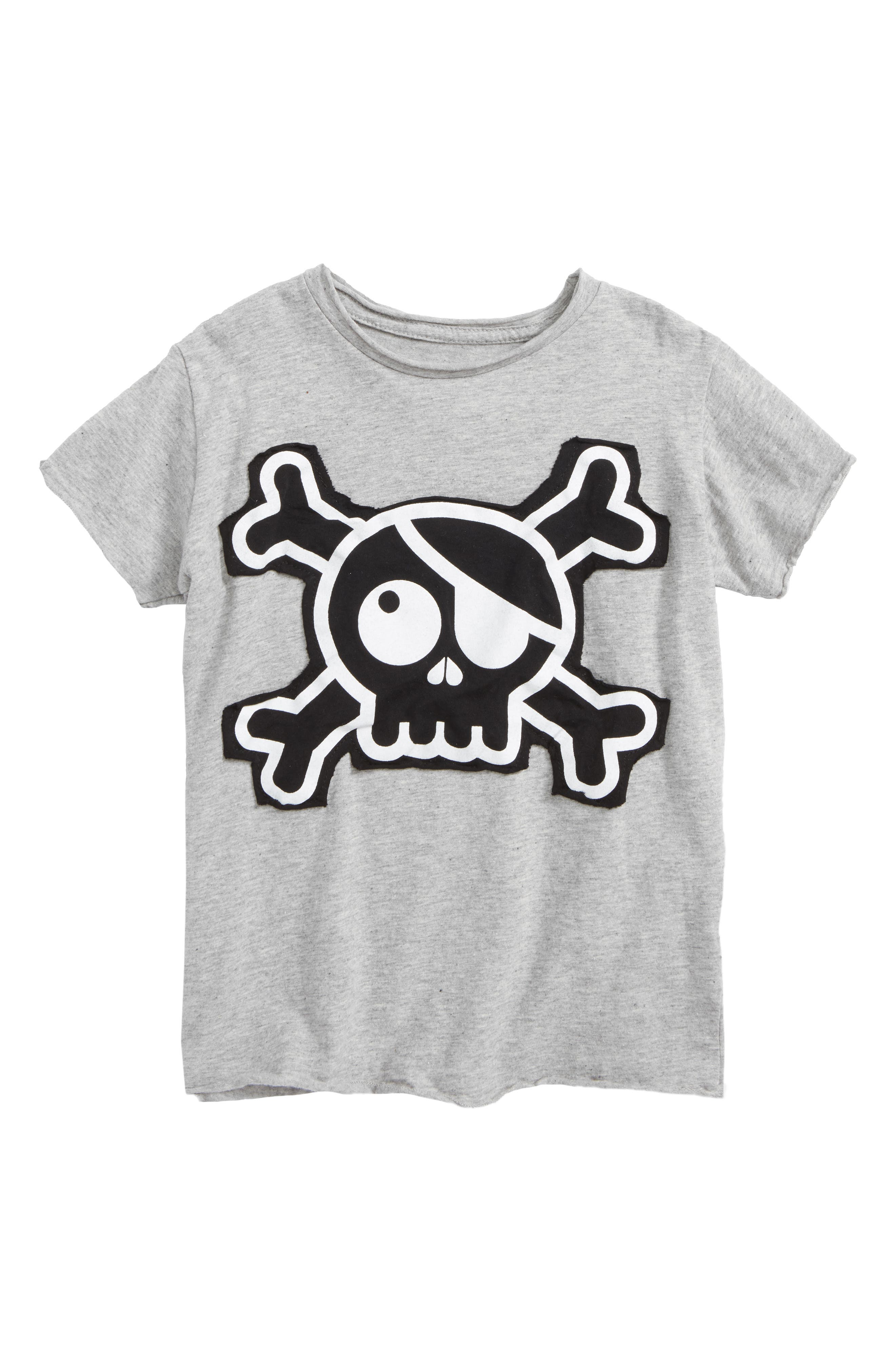 Skull Appliqué T-Shirt,                         Main,                         color, Heather Grey