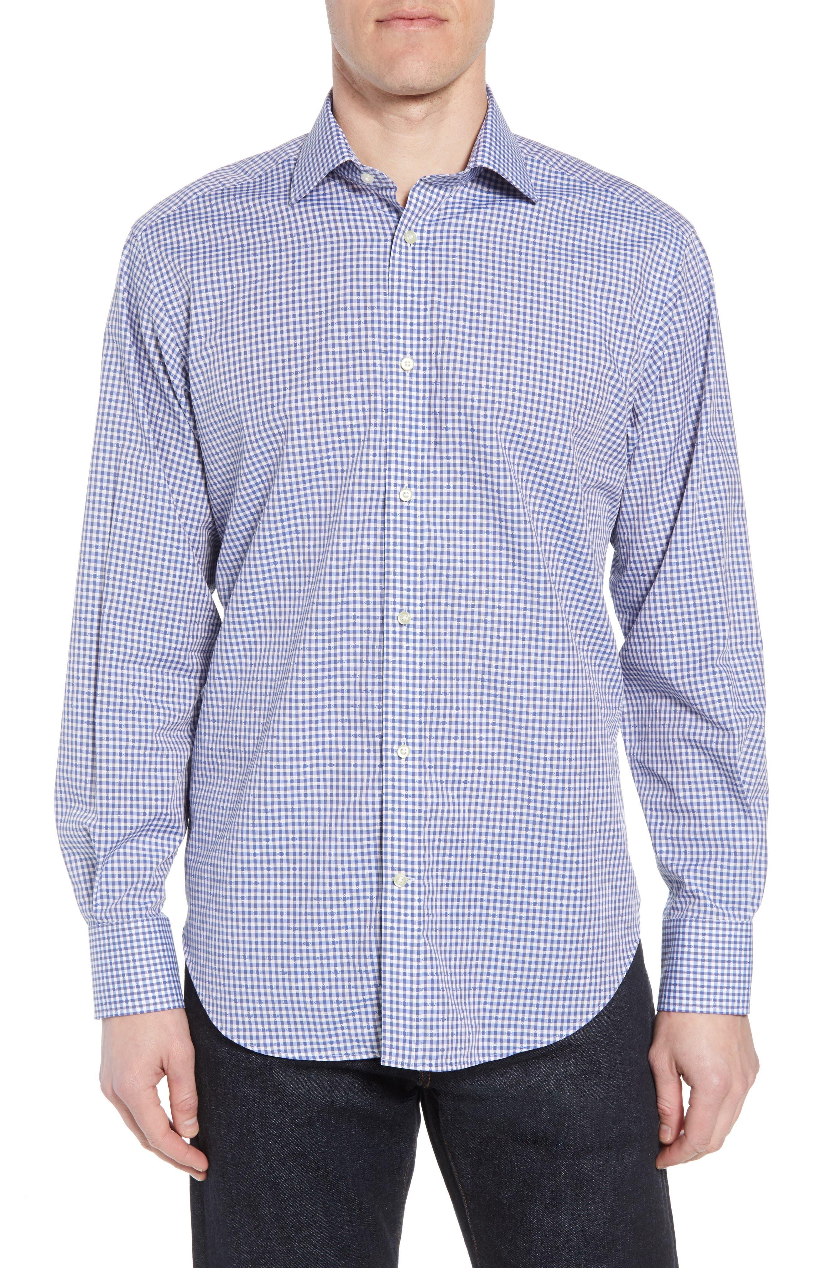 Regular Fit Check Sport Shirt,                         Main,                         color, Blue