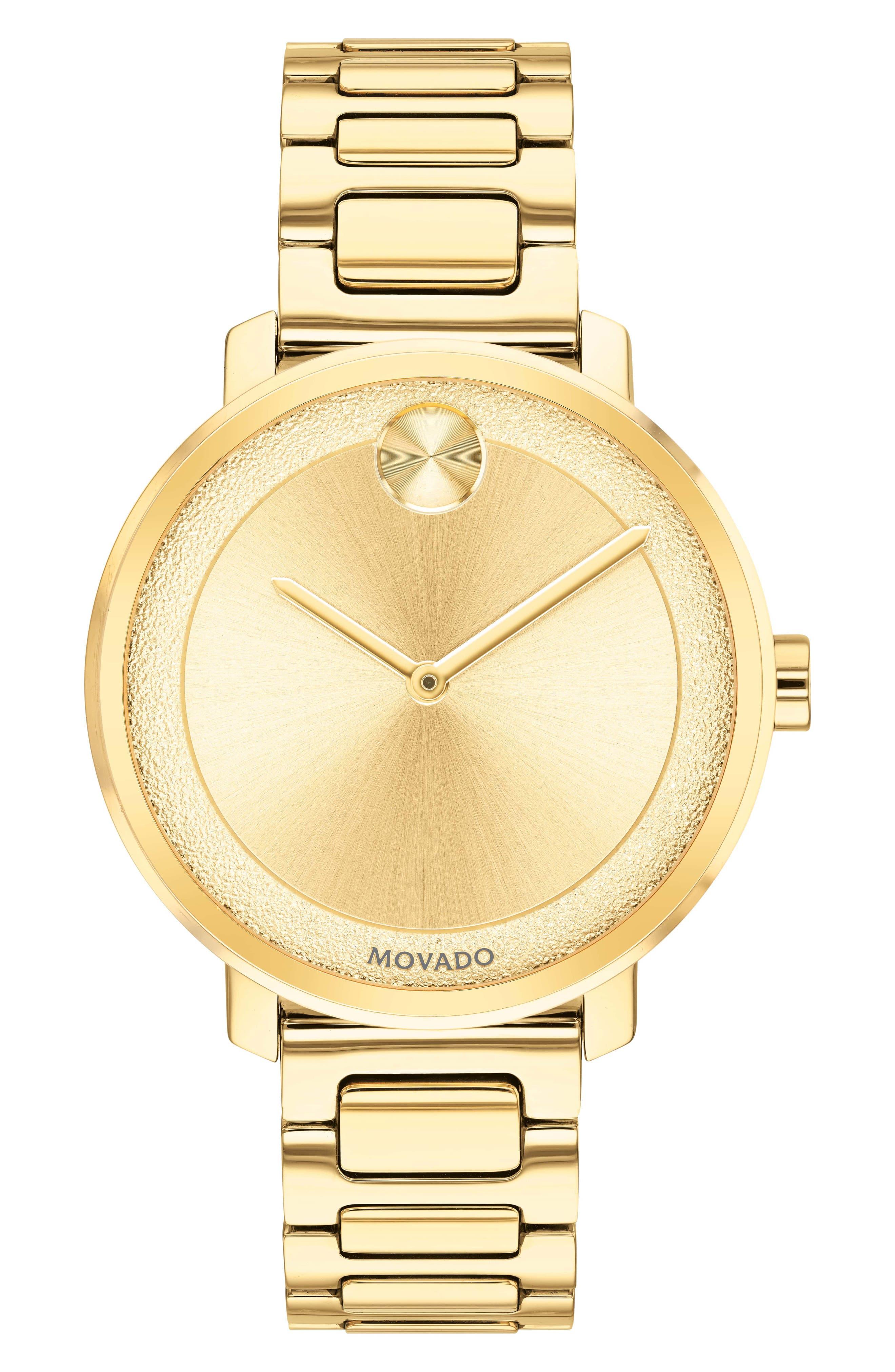 MOVADO 34Mm Bold Frosted Bracelet Watch, Golden