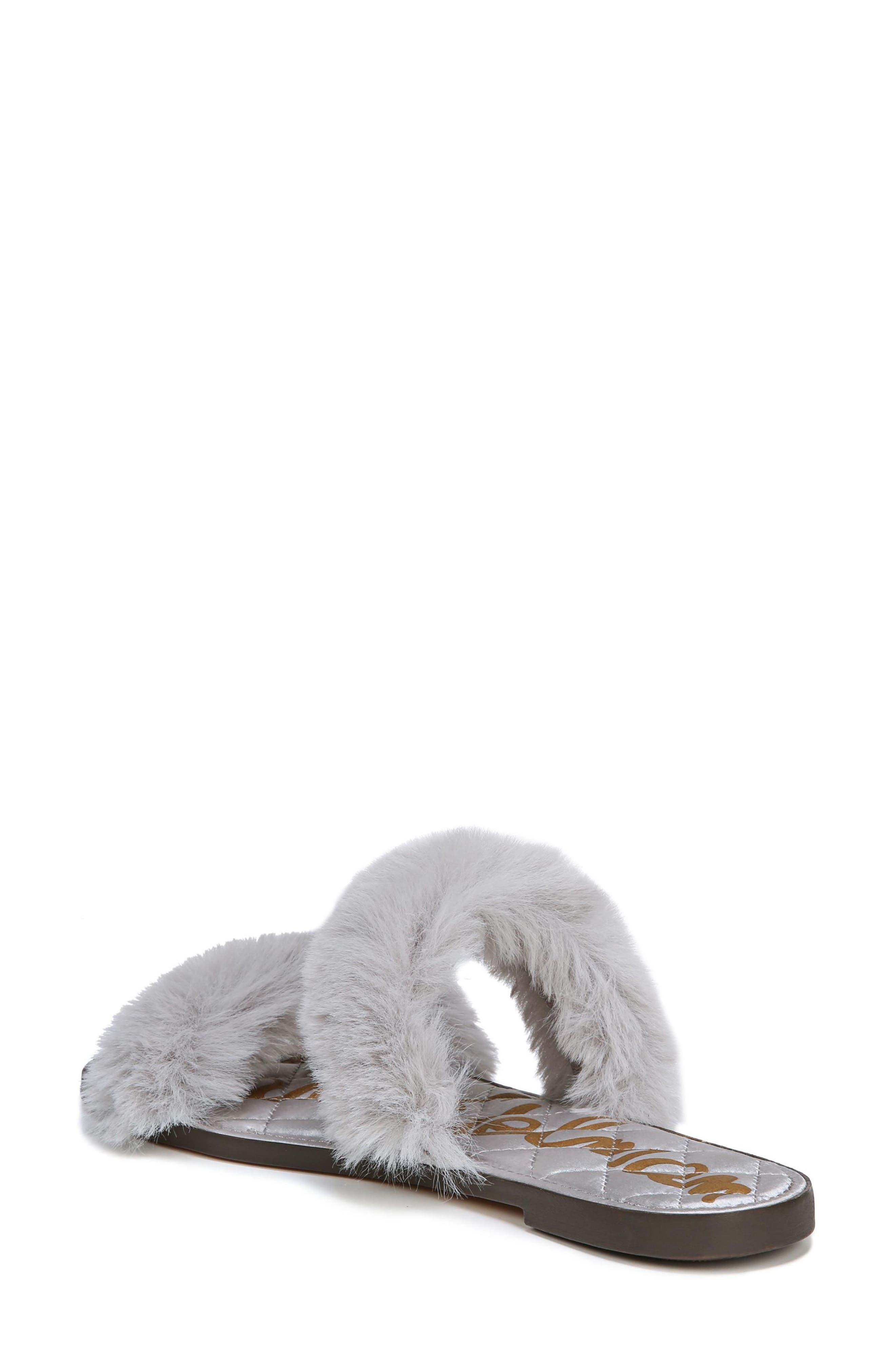 Griselda Faux Fur Slide Sandal,                             Alternate thumbnail 2, color,                             Light Grey Faux Fur