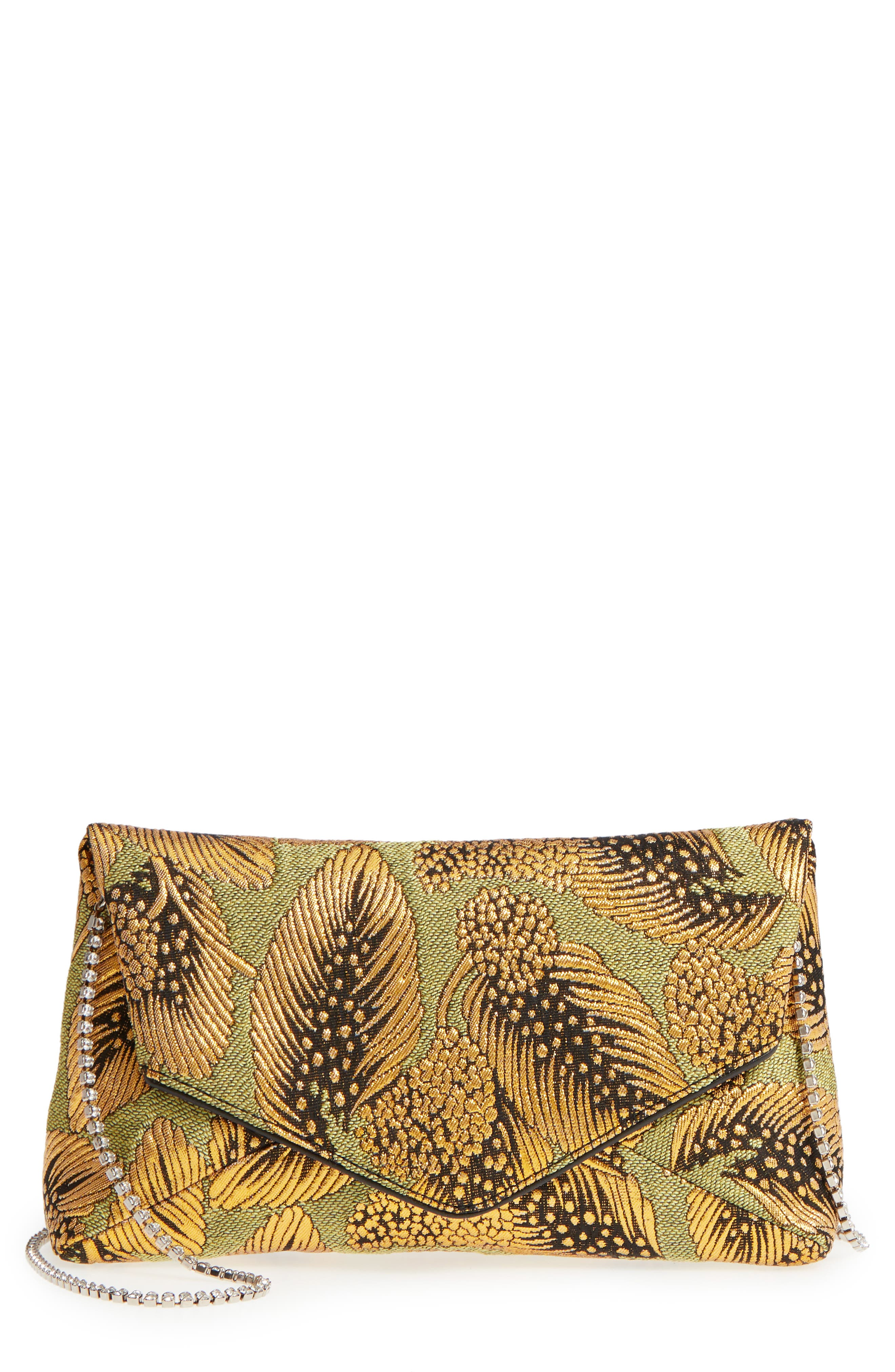 Small Metallic Feather Envelope Clutch,                         Main,                         color, Gold