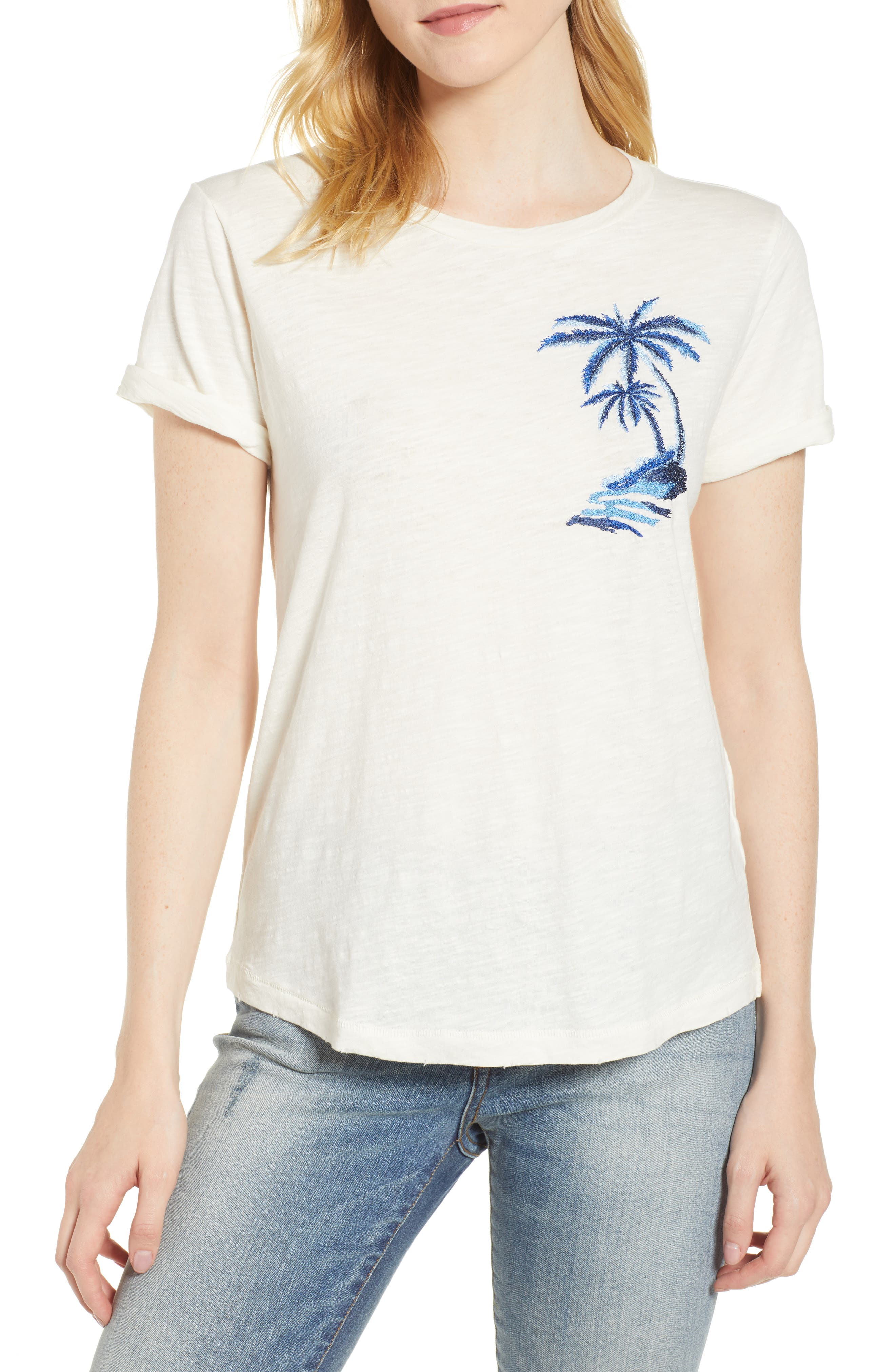 Embroidered Palm Tee,                         Main,                         color, Lucky White