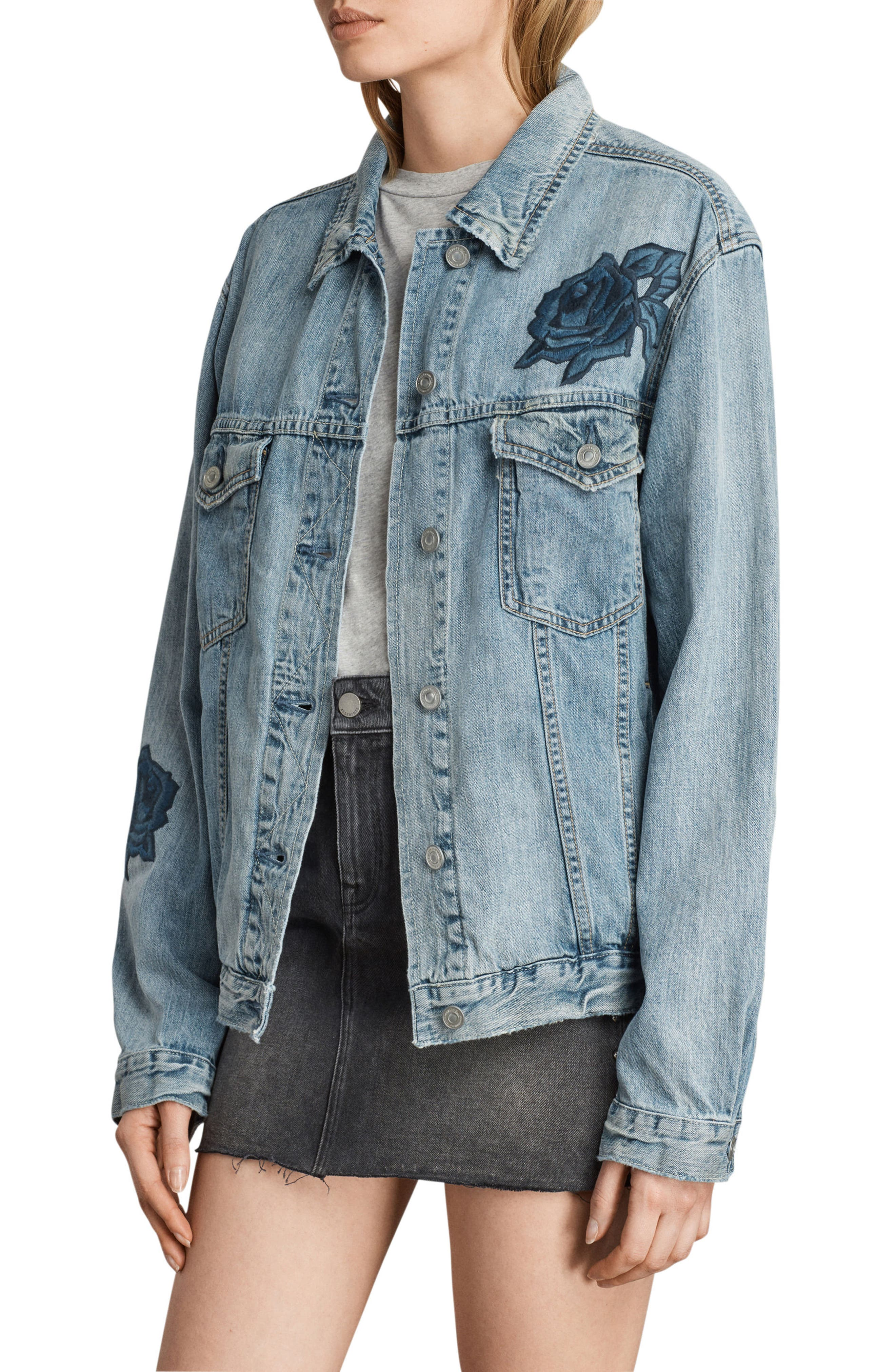 Rose Embroidered Oversize Denim Jacket,                             Alternate thumbnail 4, color,                             Indigo Blue