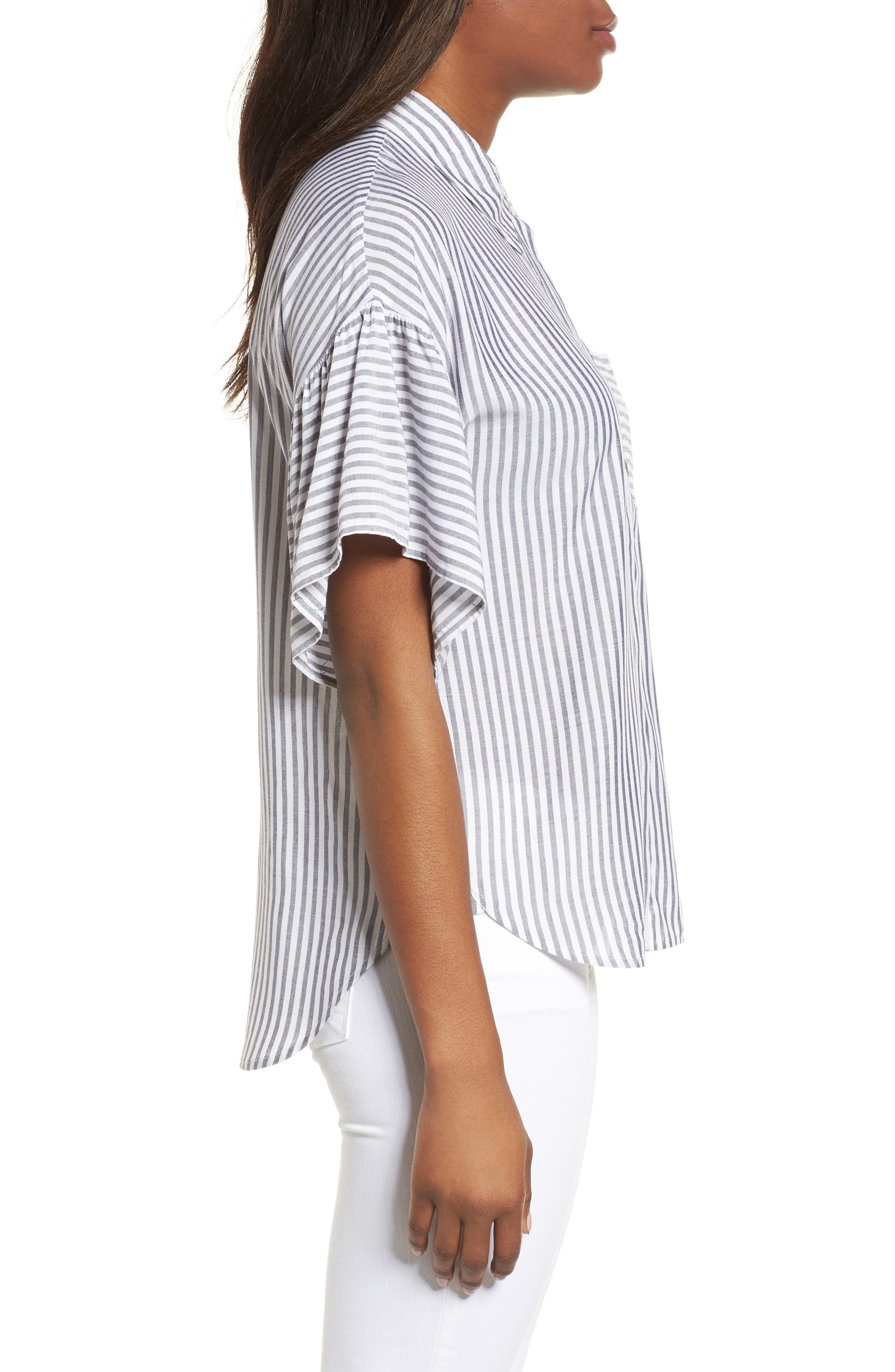 Drop Shoulder Flutter Sleeve Stripe Shirt,                             Alternate thumbnail 3, color,                             Blue Night