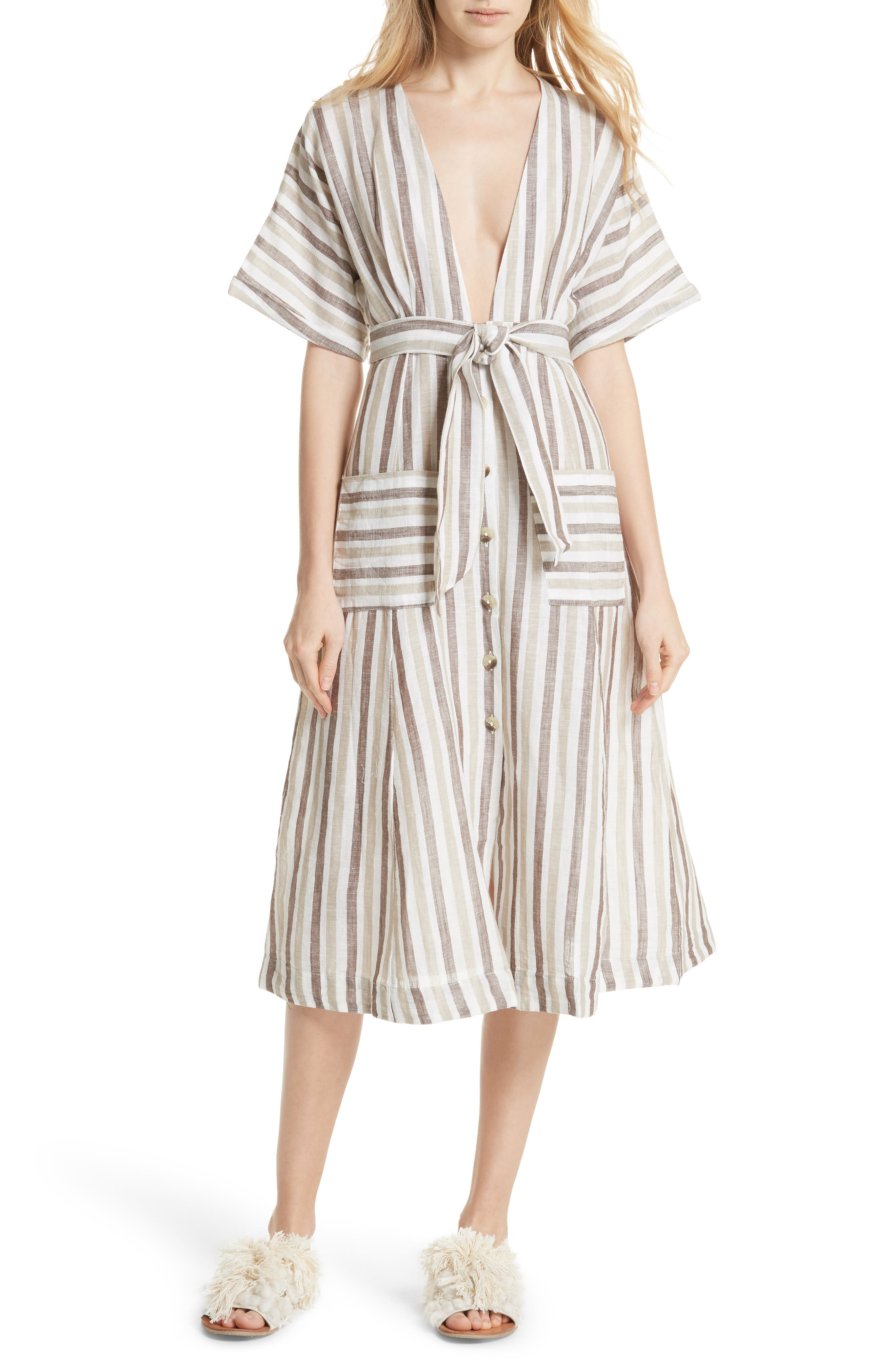 Monday Stripe Linen Blend Midi Dress,                         Main,                         color, Light Grey