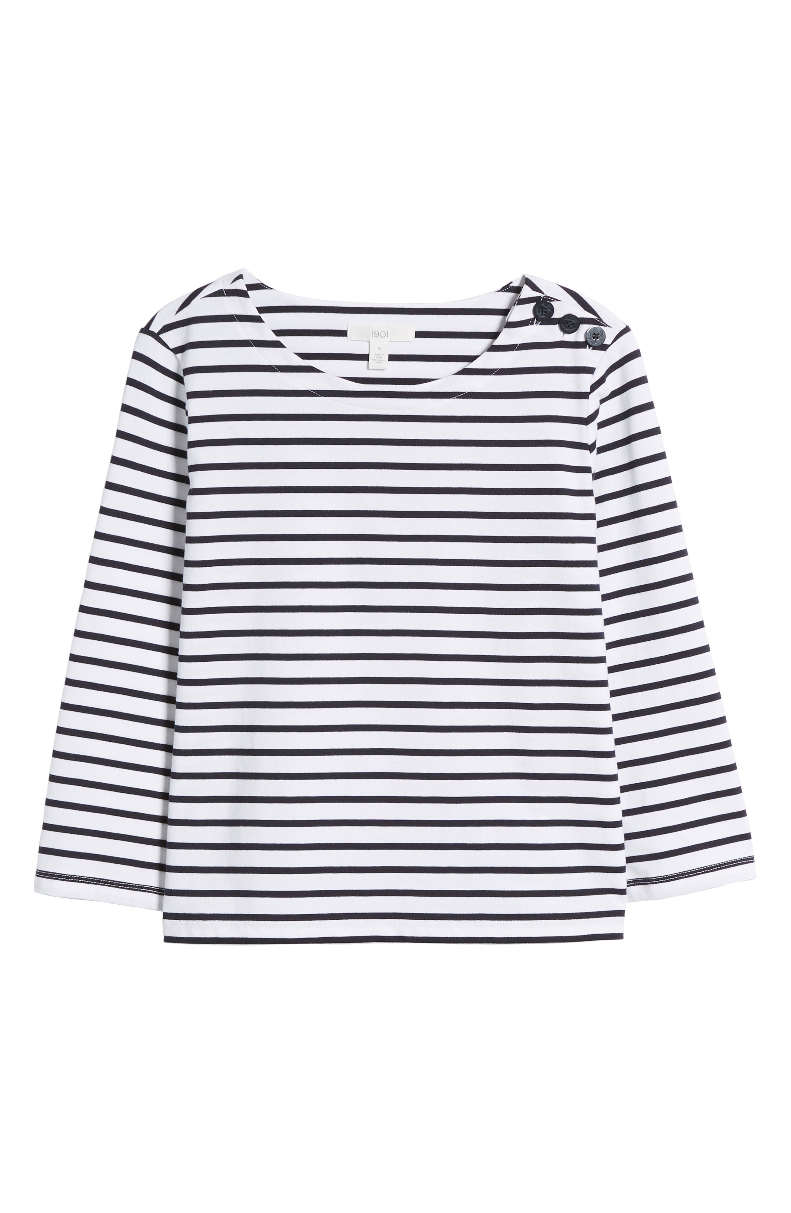 Shoulder Button Cotton Top,                             Alternate thumbnail 7, color,                             White- Navy Stripe