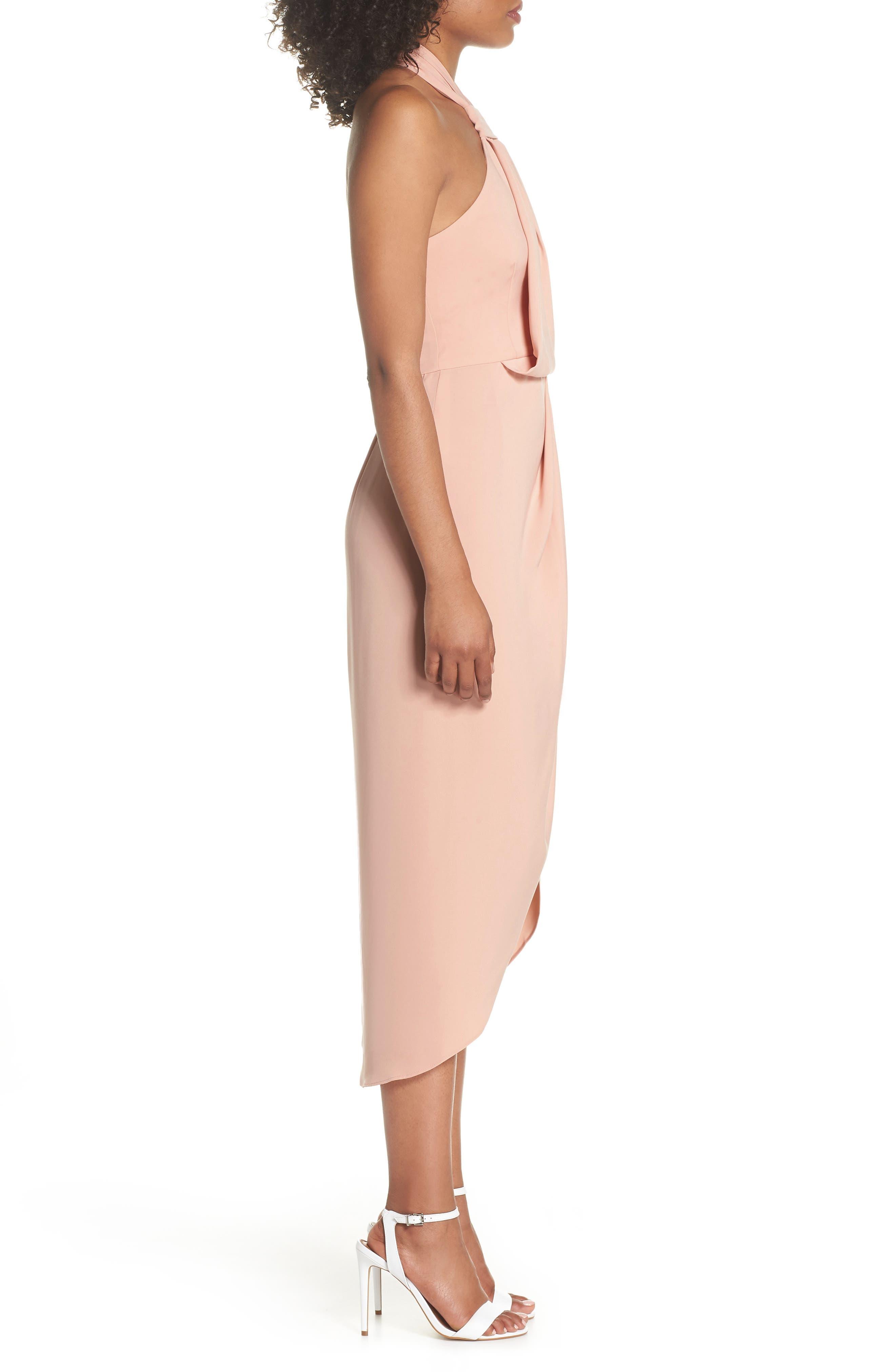Knotted Tulip Hem Midi Dress,                             Alternate thumbnail 3, color,                             Dusty Pink