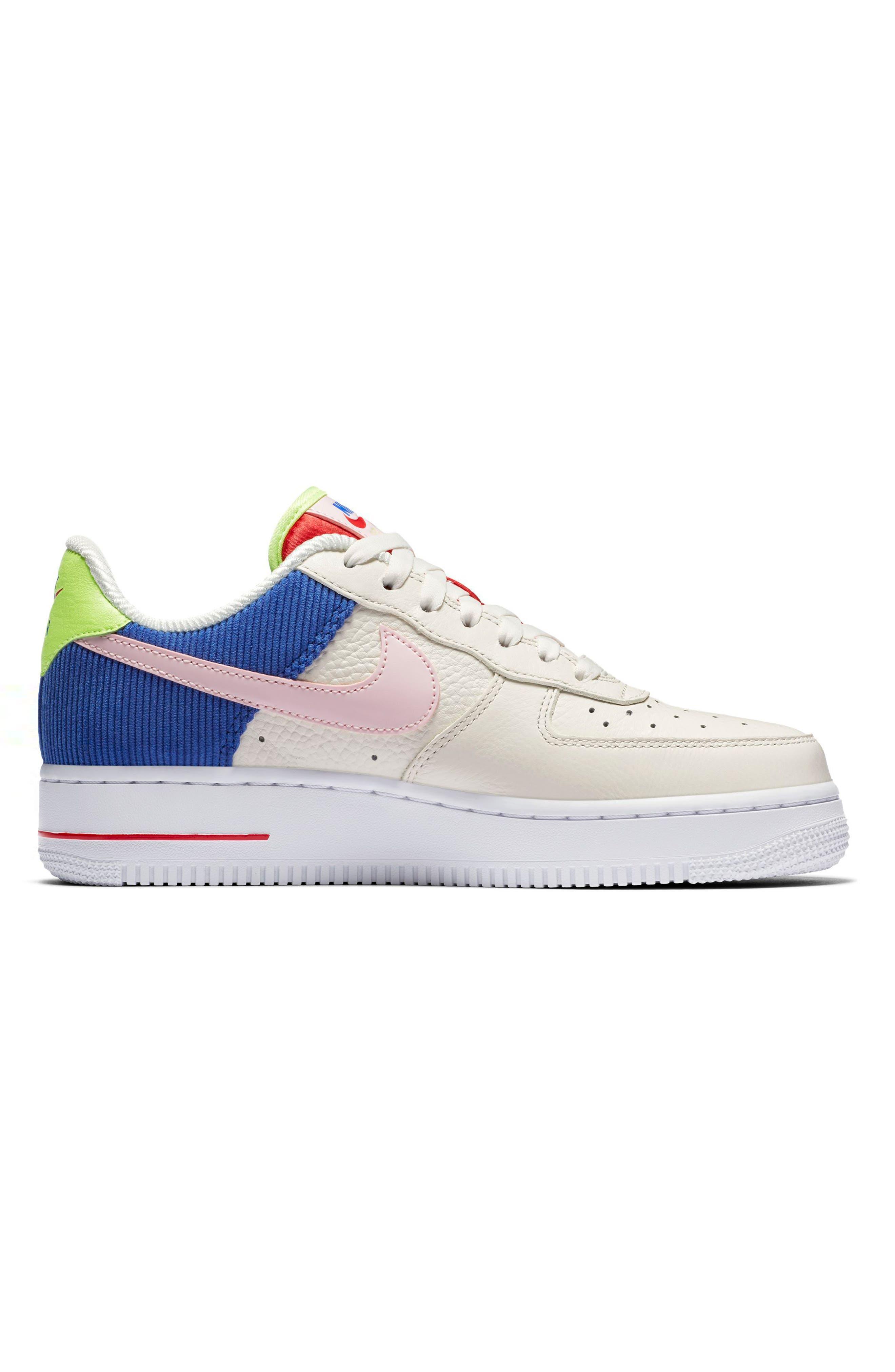 Air Force 1 Low Top Sneaker,                             Alternate thumbnail 3, color,                             Sail/ Arctic Pink-Racer Blue